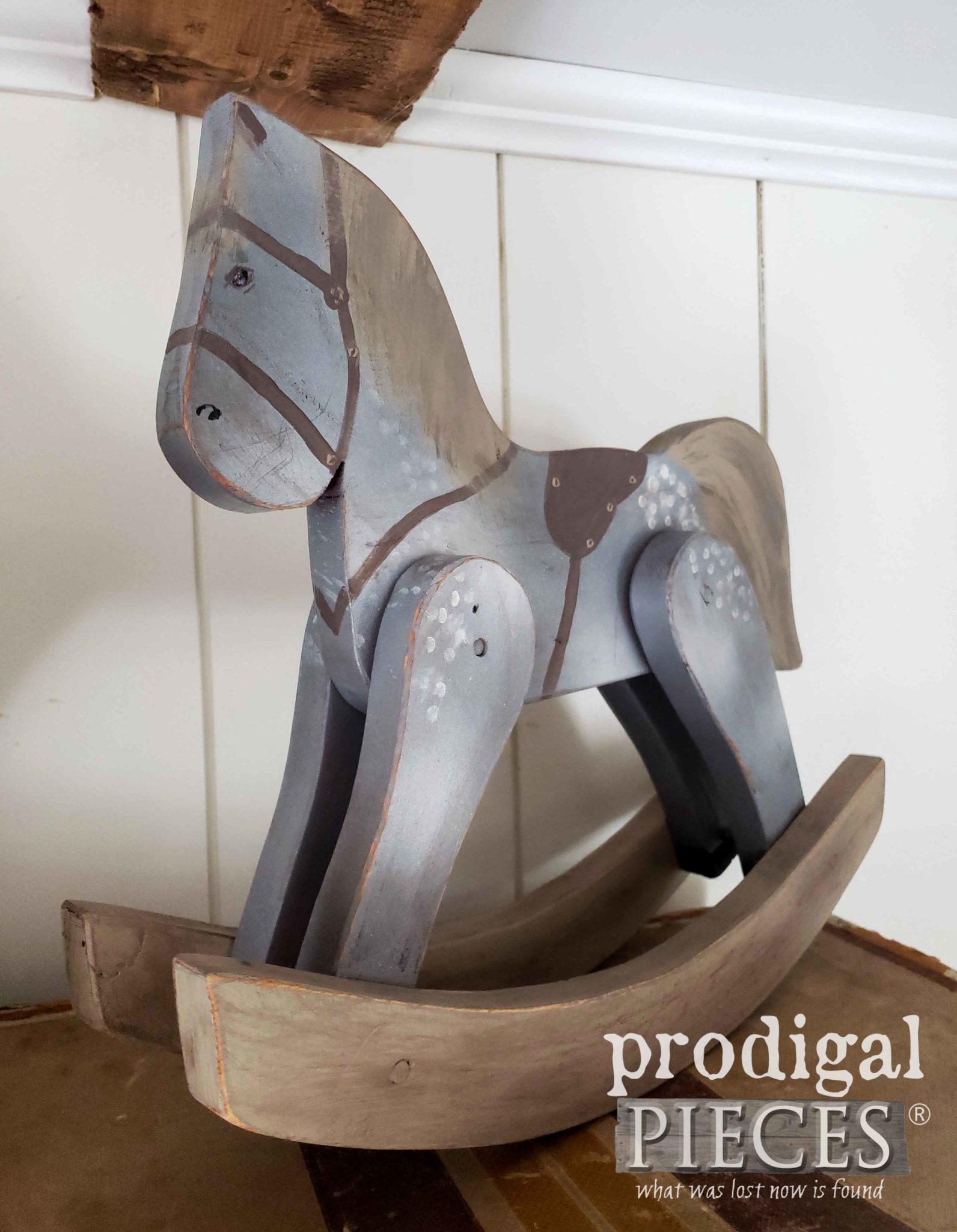 Handmade Dappled Gray Hobby Horse by Larissa of Prodigal Pieces | prodigalpieces.com #prodigalpieces #handmade #farmhouse #shopping