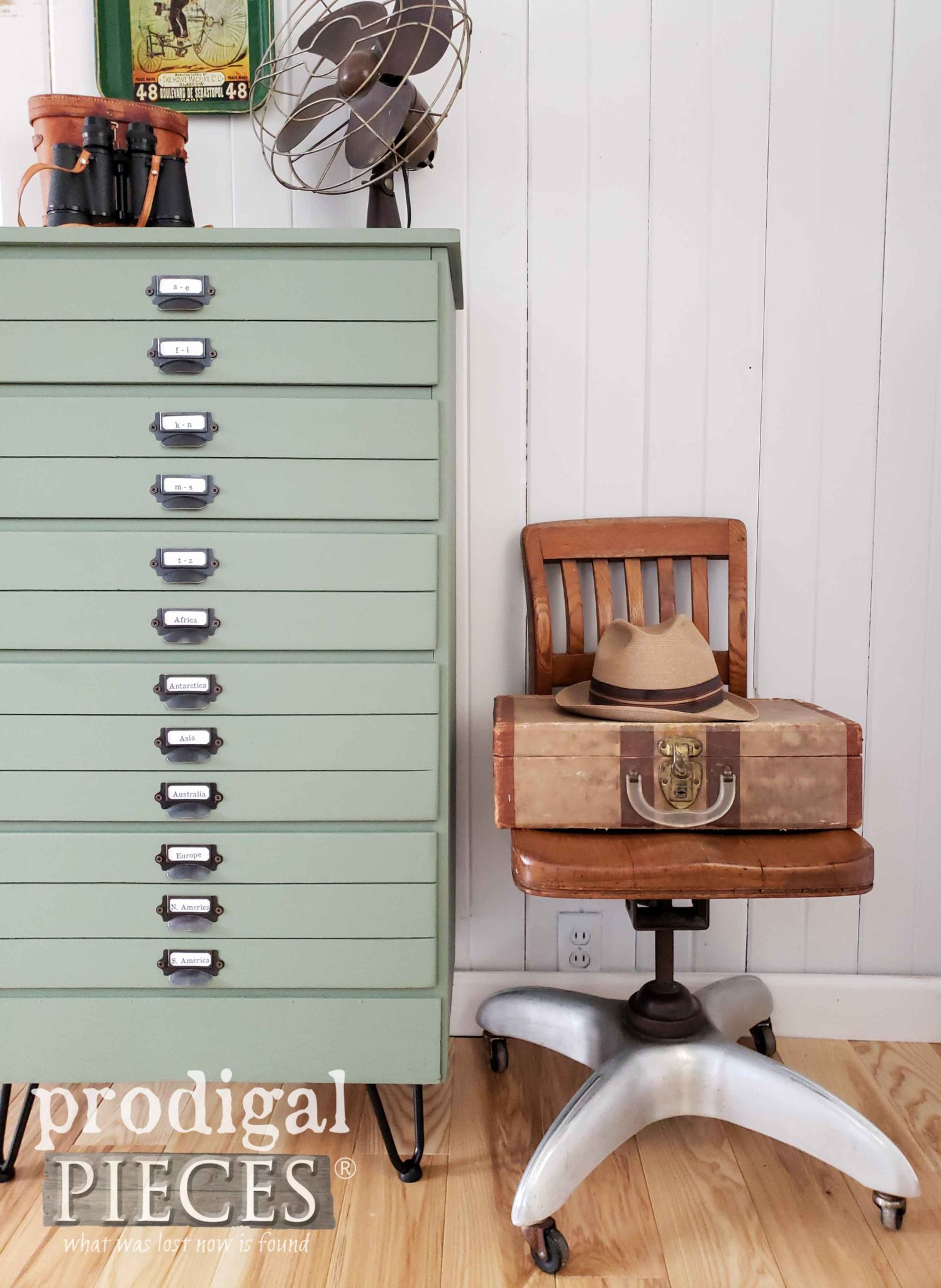 Industrial Map Cabinet Made from an Upcycled Chest of Drawers by Larissa of Prodigal Pieces | Video tutorial at prodigalpieces.com #prodigalpieces #videos #tutorial #home #diy #furniture #homedecor #farmhouse #homedecorideas