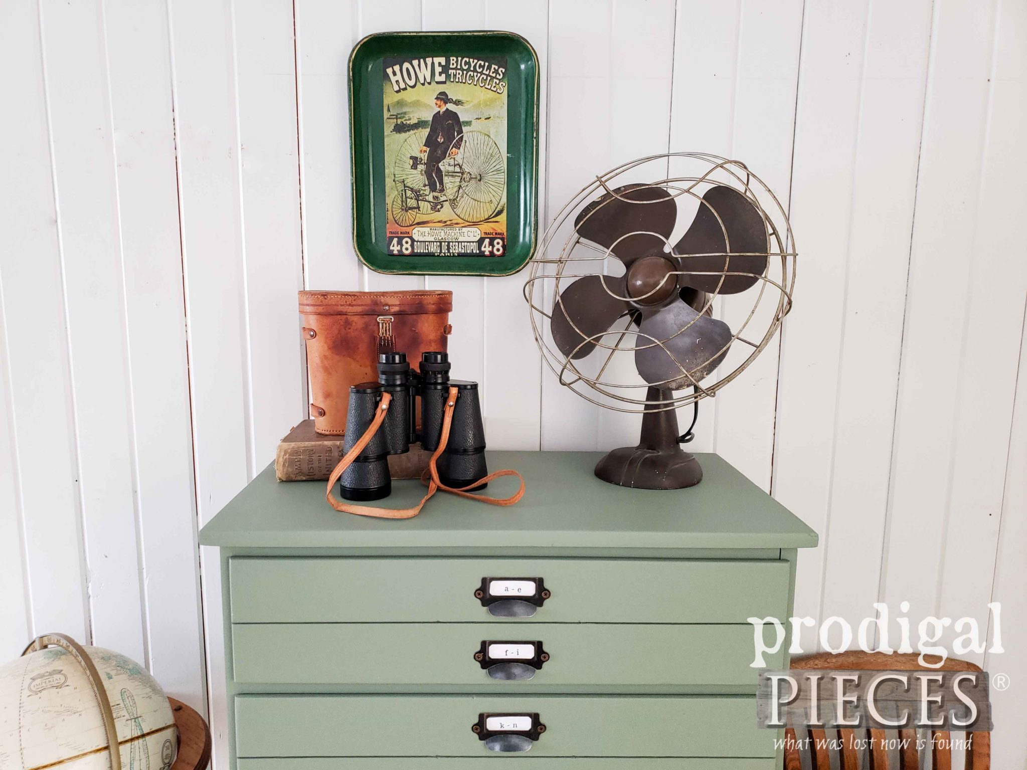 Vintage Industrial Style Vignette of Upcycled Faux Map Cabinet by Larissa of Prodigal Pieces | prodigalpieces.com #prodigalpieces #vintage #furniture #diy #home #handmade #homedecor #farmhouse #homedecorideas