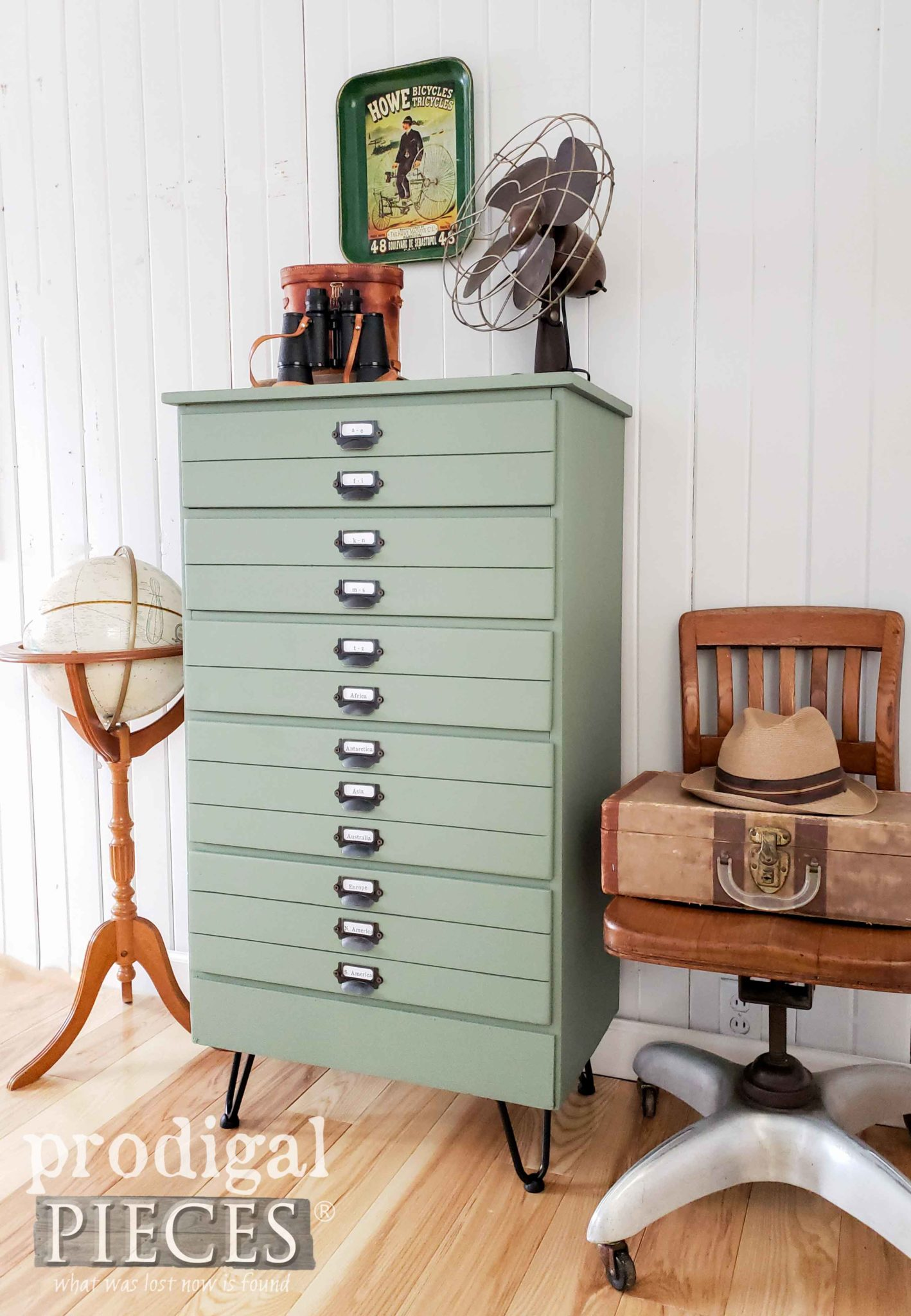 Industrial Style Map Cabinet Chest of Drawers by Larissa of Prodigal Pieces | Video tutorial at prodigalpieces.com #prodigalpieces #diy #handmade #furniture #shopping #home #farmhouse #homedecor #homedecorideas