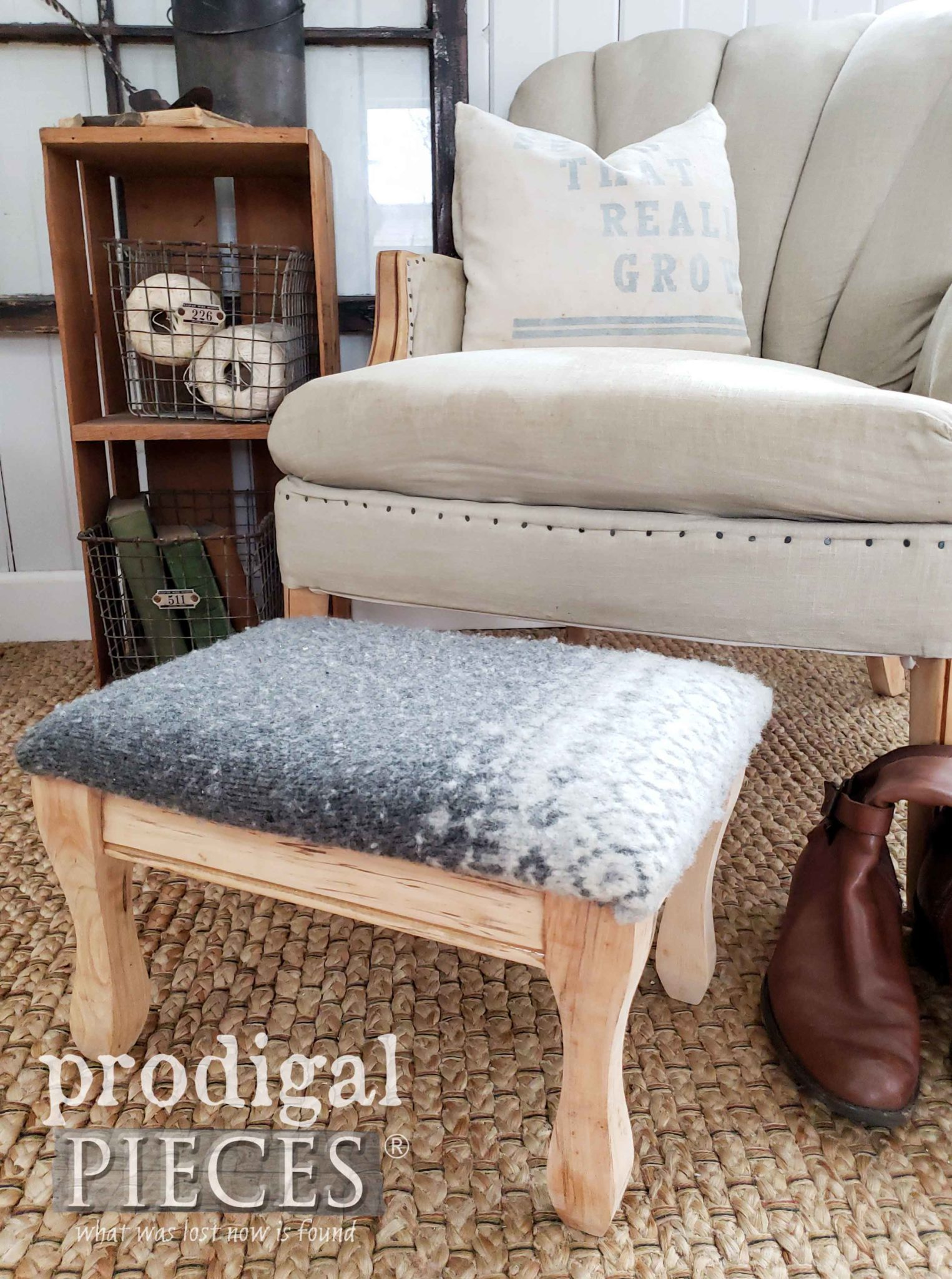 Nordic Style Farmhouse Footstool with Gray Felted Wool Sweater by Larissa of Prodigal Pieces | prodigalpieces.com #prodigalpieces #furniture #diy #shopping #farmhouse #vintage #home #homedecor #homedecorideas
