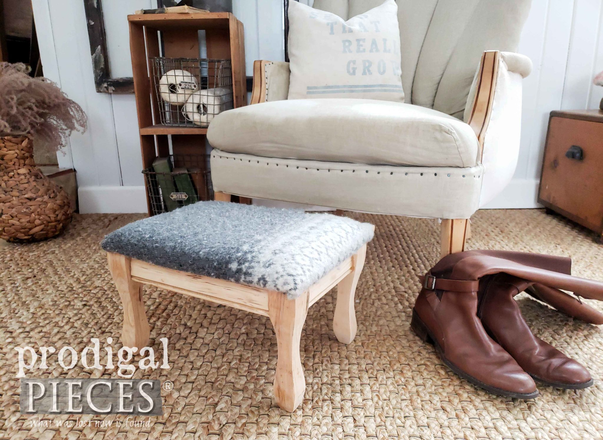 Nordic Farmhouse Style Footstool Created Using a Felted Wool Sweater | Video Tutorial by Larissa of Prodigal Pieces | prodigalpieces.com #prodigalpieces #farmhouse #nordic #handmade #furniture #farmhouse #diy #videos #shopping #home #homedecor #homedecorideas