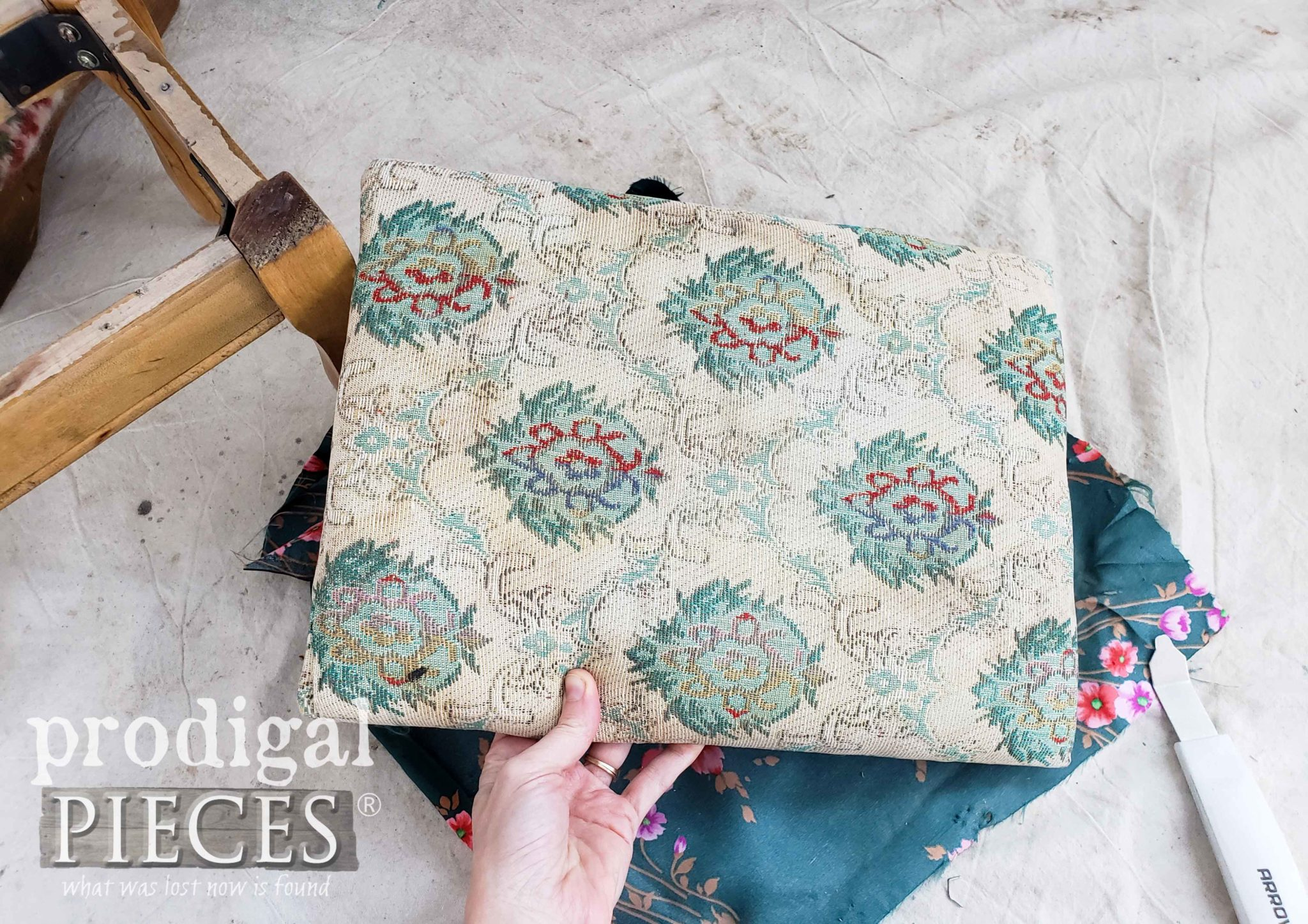 Old Upholstery on Vintage Footstool | prodigalpieces.com