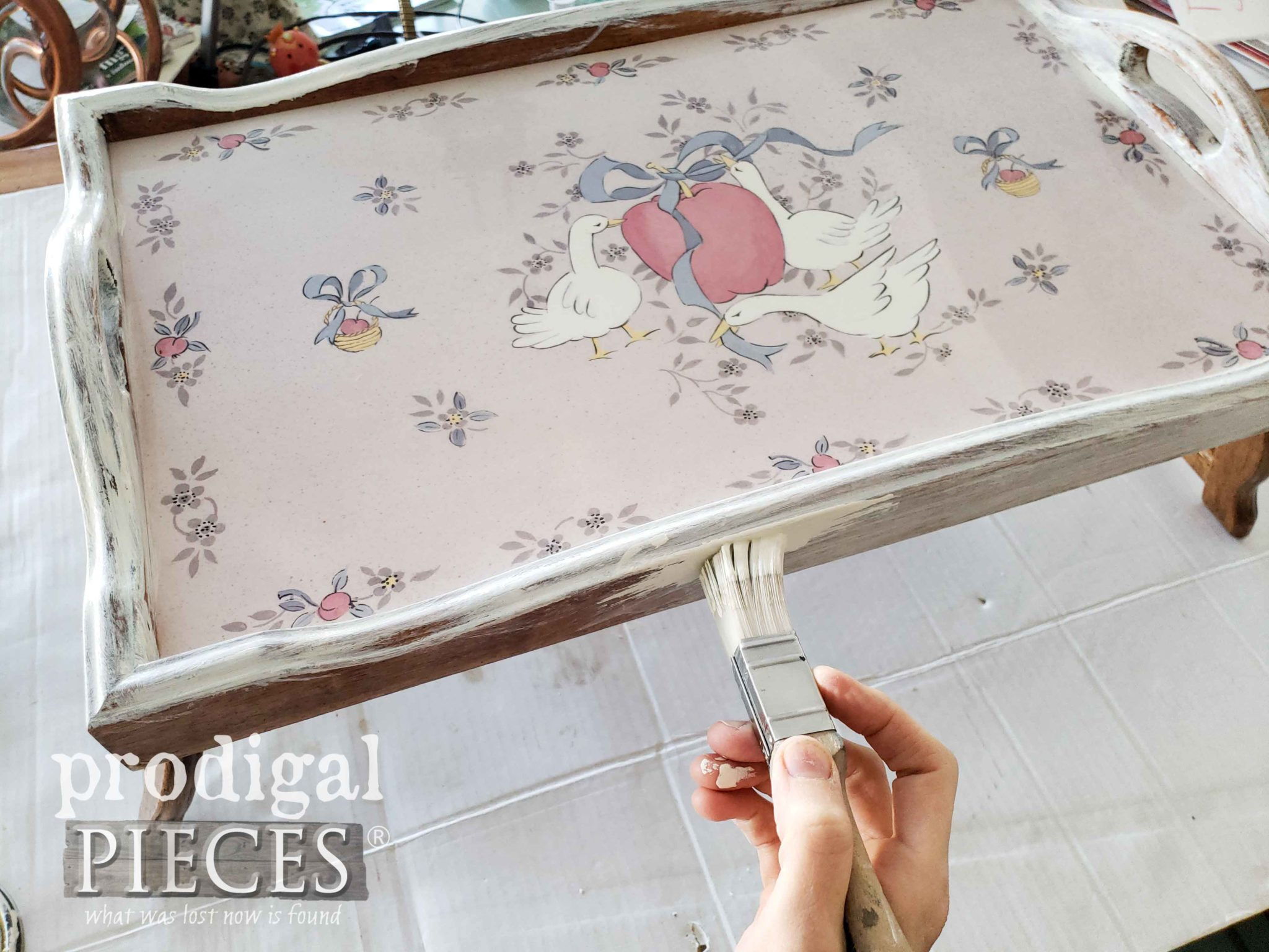 Painting Vintage Bed Tray with Zibra Square Brush | prodigalpieces.com