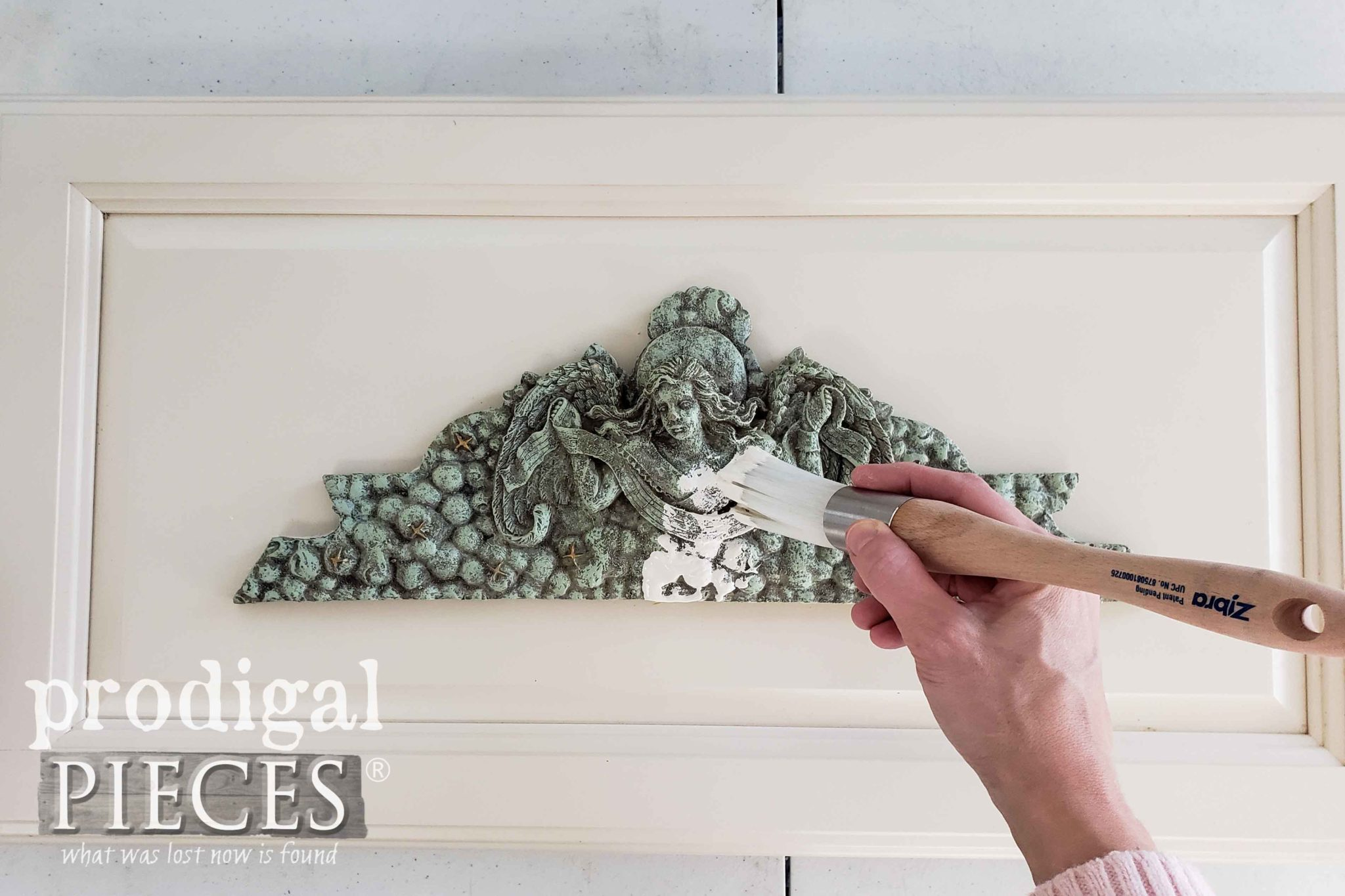 Painting White French Relief Wall Art with Paint Layering Technique | prodigalpieces.com
