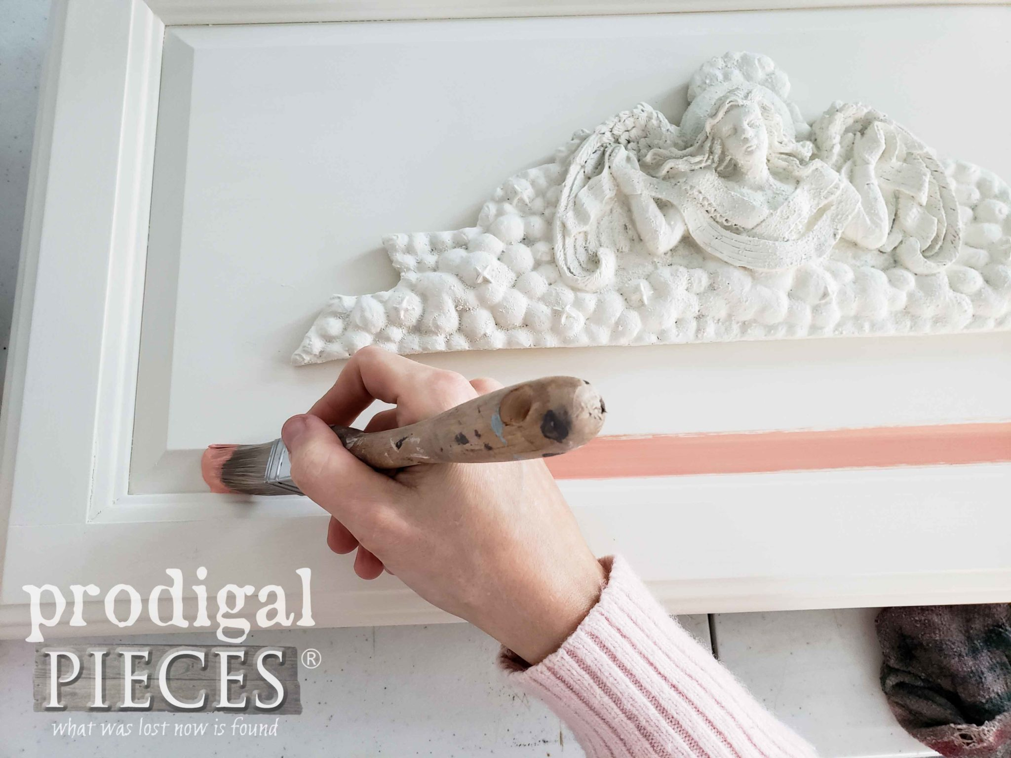 Applying Coral Colored Glazing to French Relief Wall Art | prodigalpieces.com