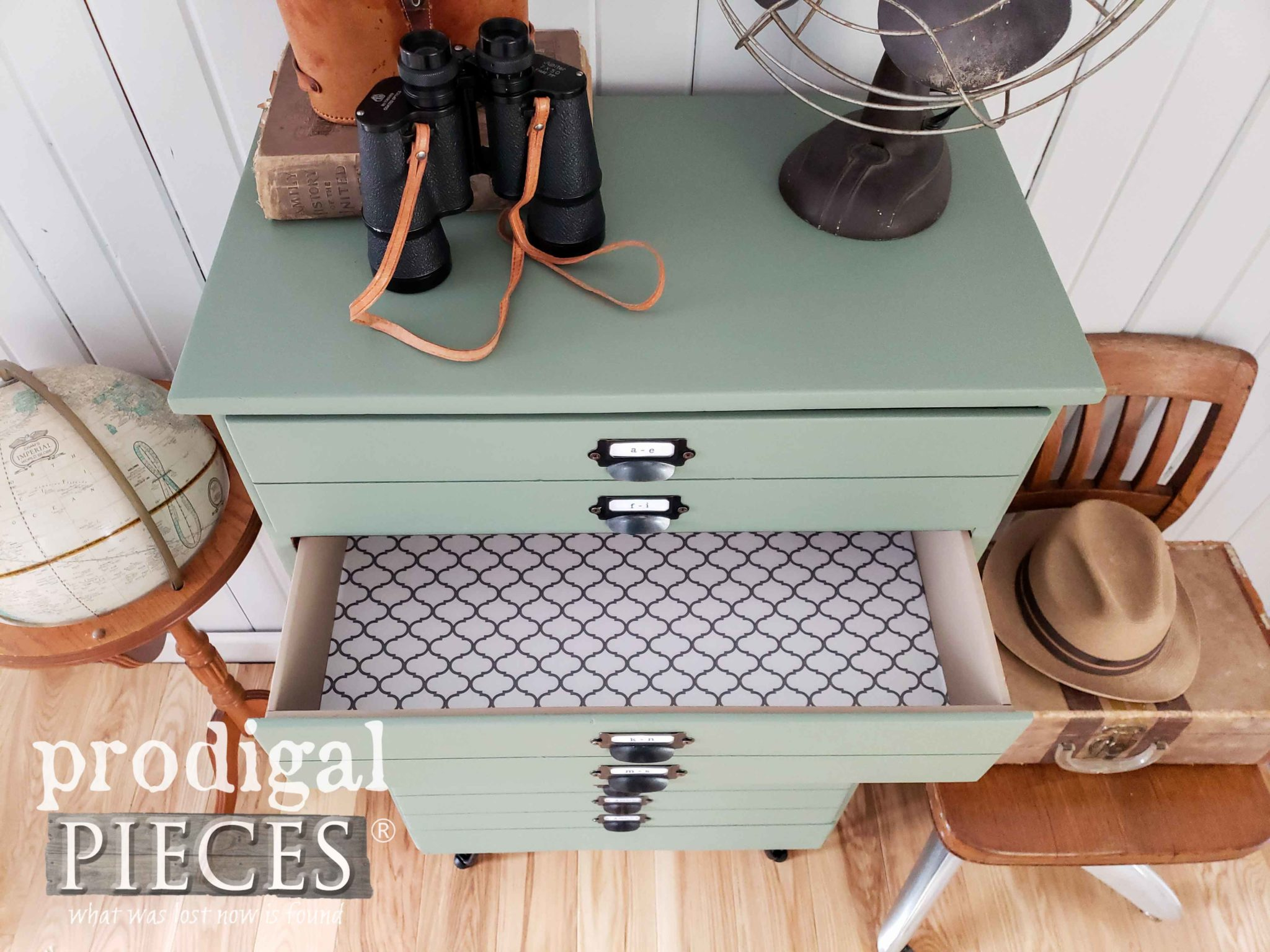 Painted and Paper Lined Drawers of Faux Map Cabinet by Larissa of Prodigal Pieces | prodigalpieces.com #prodigalpieces