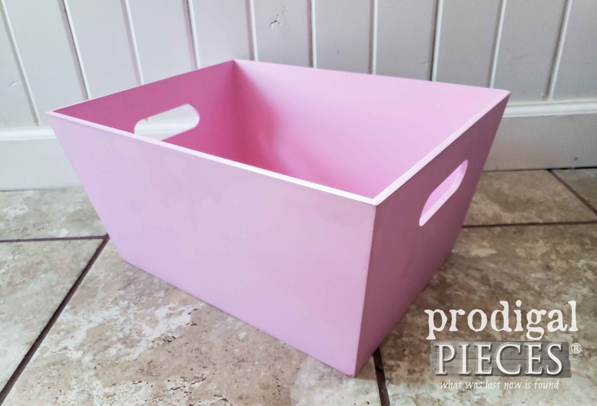 Thrifted Pink Bin Before Makeover by Prodigal Pieces | prodigalpieces.com