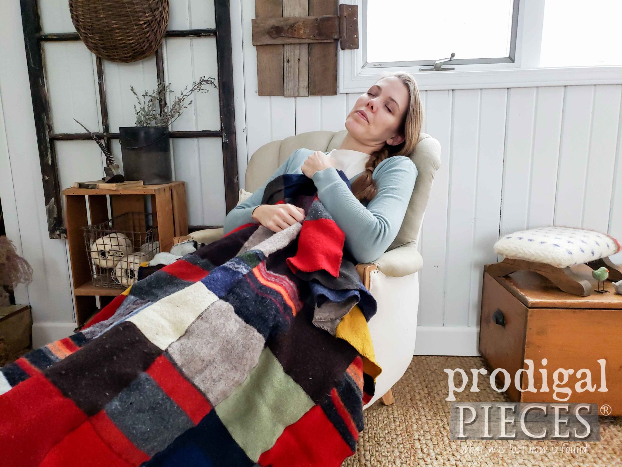 Larissa of Prodigal Pieces Cuddles Up in a Felted Wool Blanket from Thrifted Sweaters | DIY at prodigalpieces.com #prodigalpieces #diy #handmade #home #homedecor #homedecorideas