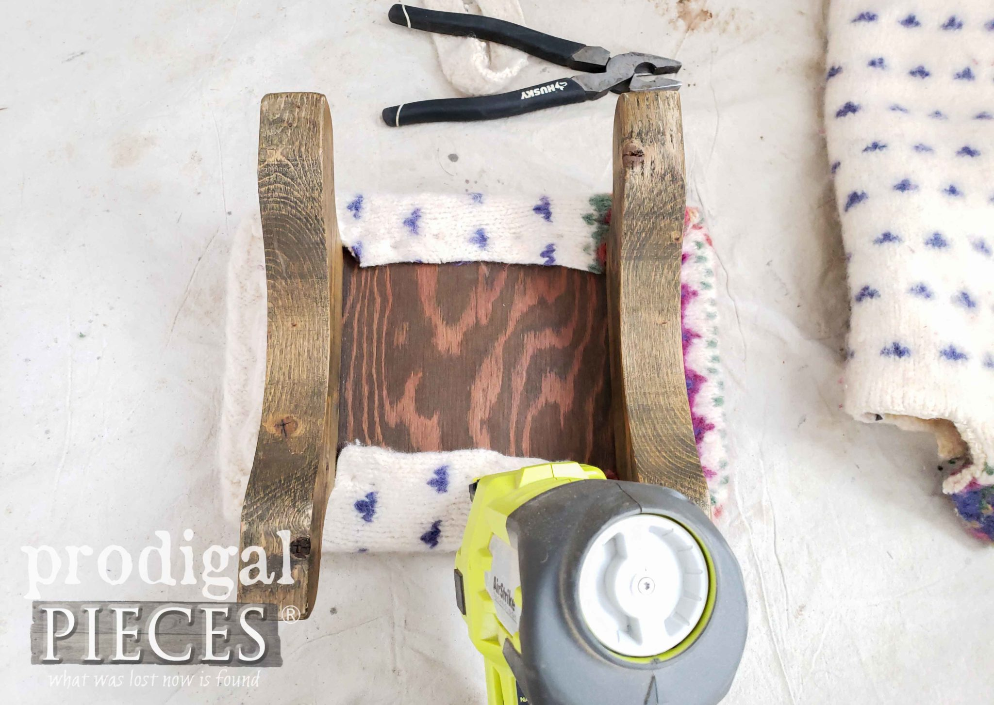 Stapling Felted Wool Upholstery to Footstool with Ryobi Stapler by Prodigal Pieces | prodigalpieces.com