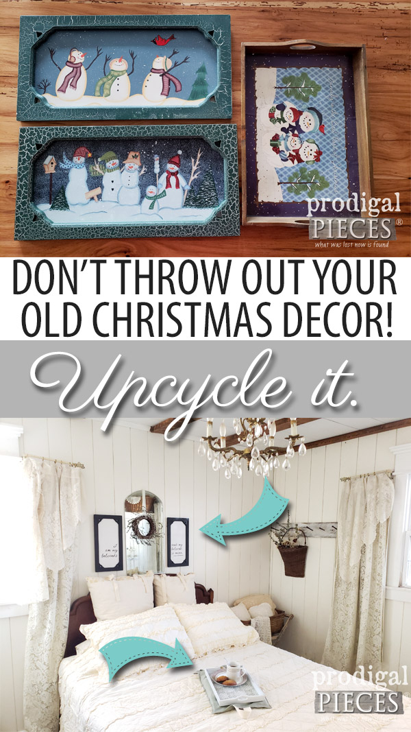 WAIT! Don't throw out or donate your old Christmas Decor! Come see how Larissa of Prodigal Pieces shows you how to upcycle your old Christmas Decor | Video tutorial at prodigalpieces.com #prodigalpieces #diy #handmade #home #homedecor #homedecorideas #farmhouse #shopping