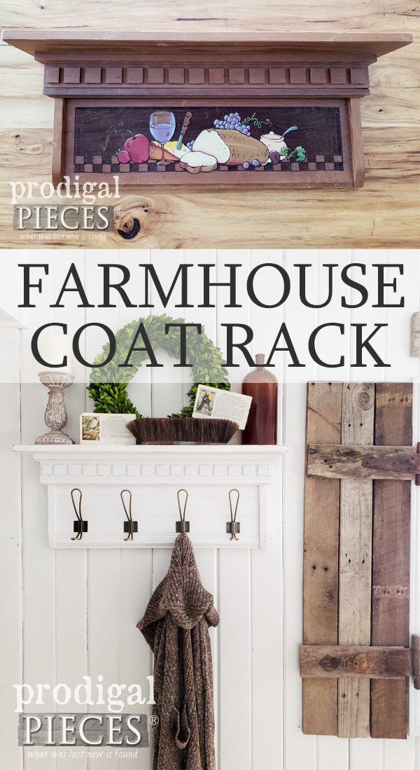 Sweet! This thrifted wooden shelf got a brand new life as an upcycled farmhouse coat rack | Video tutorial showing you how at Prodigal Pieces | prodigalpieces.com #prodigalpieces #diy #handmade #vintage #home #homedecor #shopping #homedecorideas #farmhouse