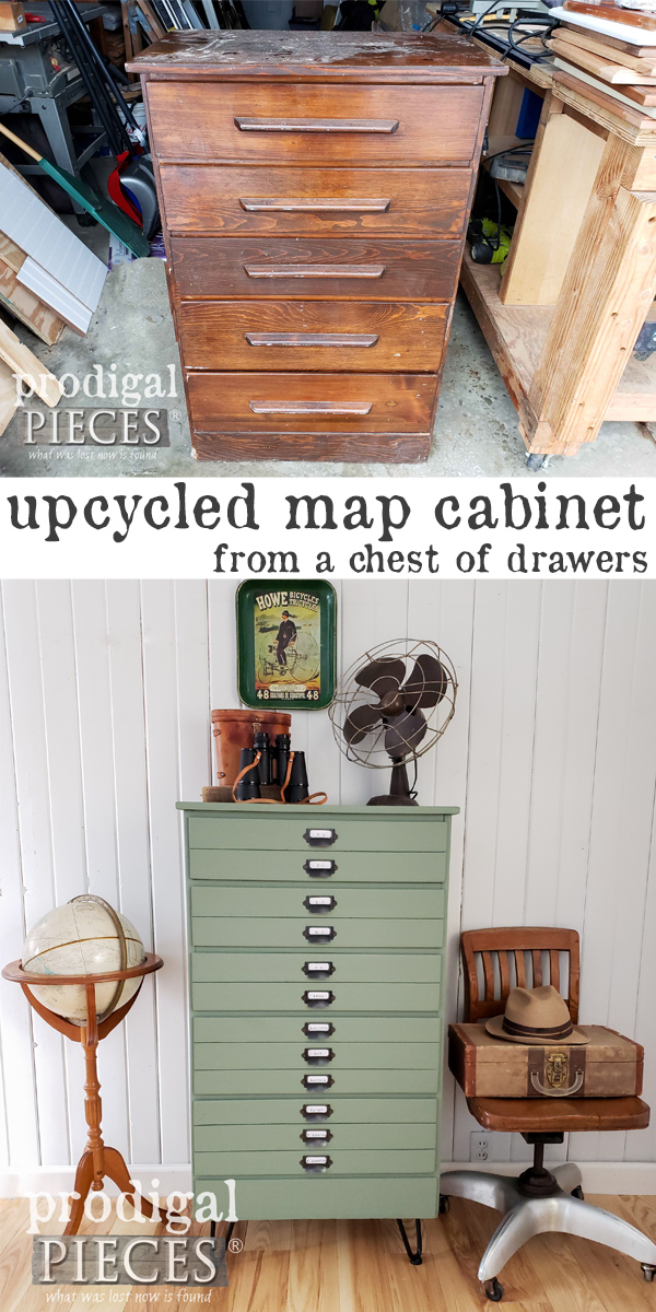 From old and beaten to brand new, this upcycled map cabinet DIY is a must see! Step-by-step video tutorial by Larissa of Prodigal Pieces at prodigalpieces.com #prodigalpieces #diy #handmade #home #furniture #vintage #homedecor #farmhouse #homedecorideas