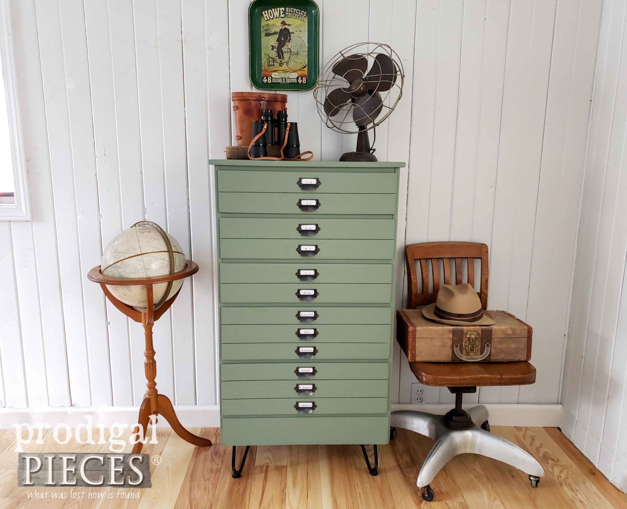 Upcycled Vintage Map Cabinet with Apothecary Pulls by Larissa of Prodigal Pieces | prodigalpieces.com #prodigalpieces #furniture #shopping #home #homedecor #homedecorideas #farmhouse