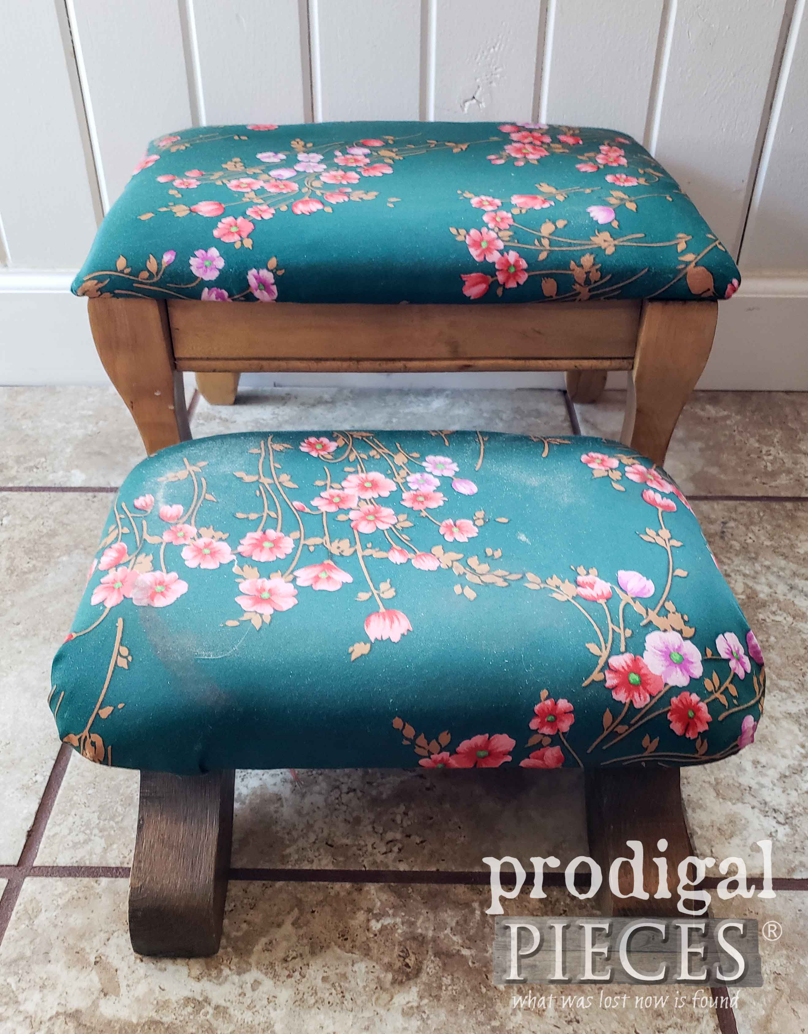 Thrifted Footstool Set Before Makeover | prodigalpieces.com