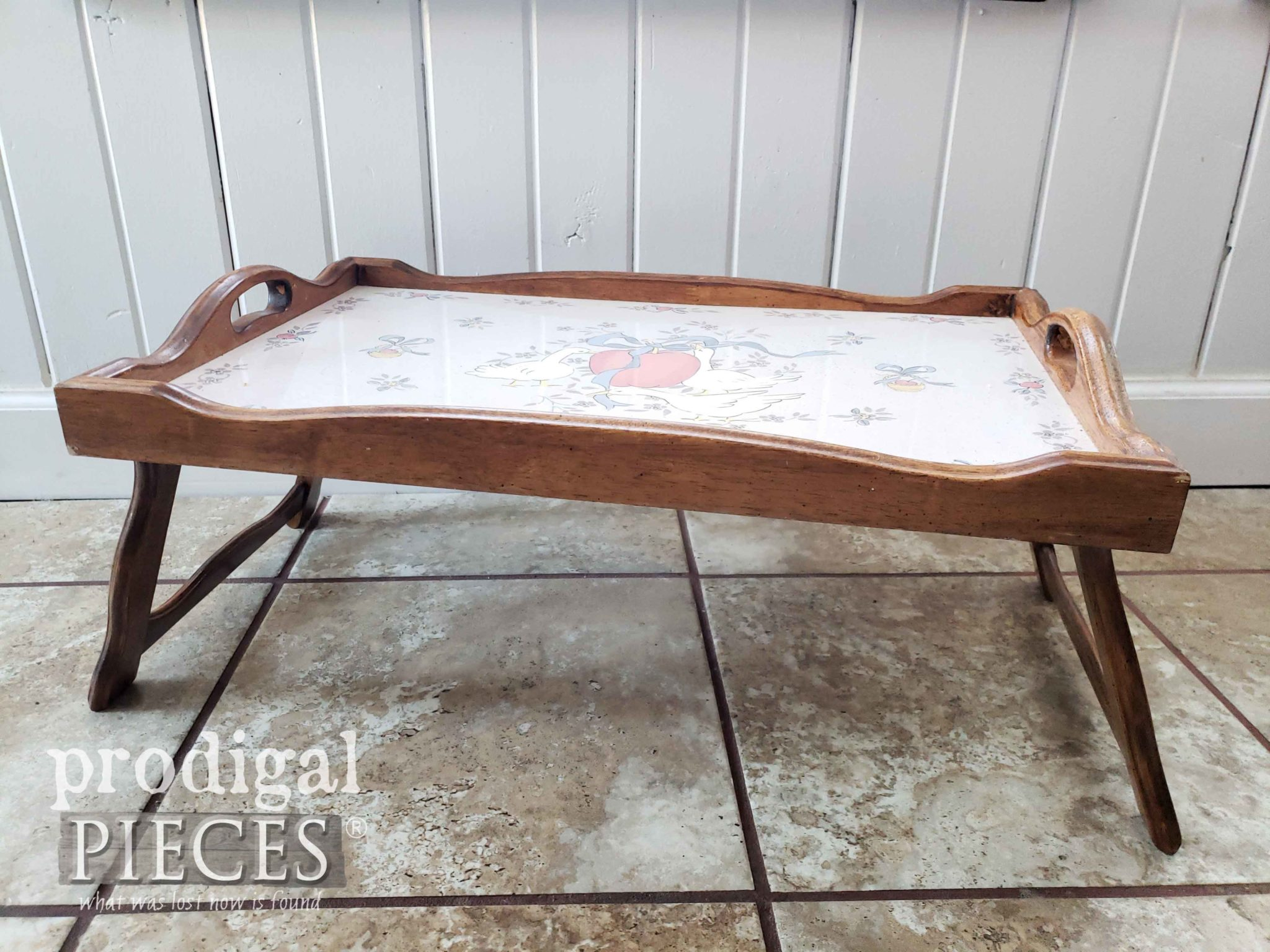 Vintage Bed Tray Before Makeover by Prodigal Pieces | prodigalpieces.com