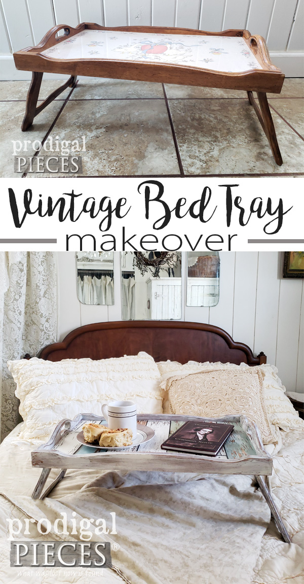 A thrifted vintage bed tray with angry geese gets a new lease on life. Step-by-step video tutorial with Larissa of Prodigal Pieces | prodigalpieces.com #prodigalpieces #farmhouse #vintage #home #shopping #homedecor #homedecorideas