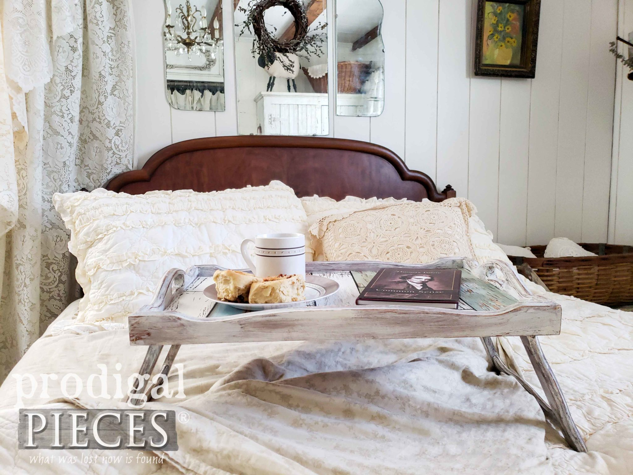 Vintage Farmhouse Bedroom Decor with DIY Vintage Bed Tray Makeover by Larissa of Prodigal Pieces | prodigalpieces.com #prodigalpieces #home #diy #farmhouse #homedecor #homedecorideas #shopping #vintage #handmade
