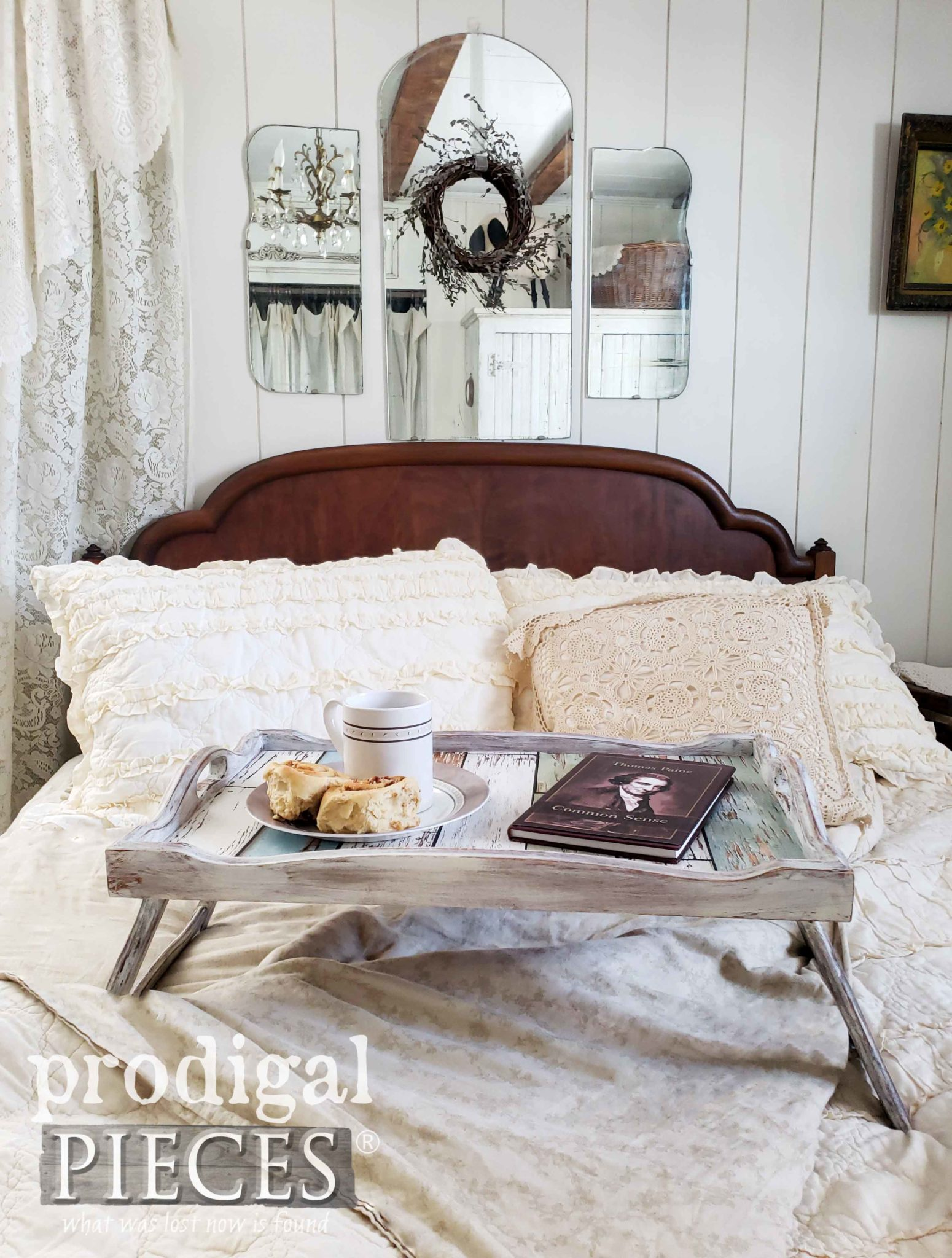 Vintage Bed Tray Gets Modern Farmhouse Makeover by Larissa of Prodigal Pieces | prodigalpieces.com #prodigalpieces #diy #home #handmade #homedecor #vintage #homedecorideas #farmhouse