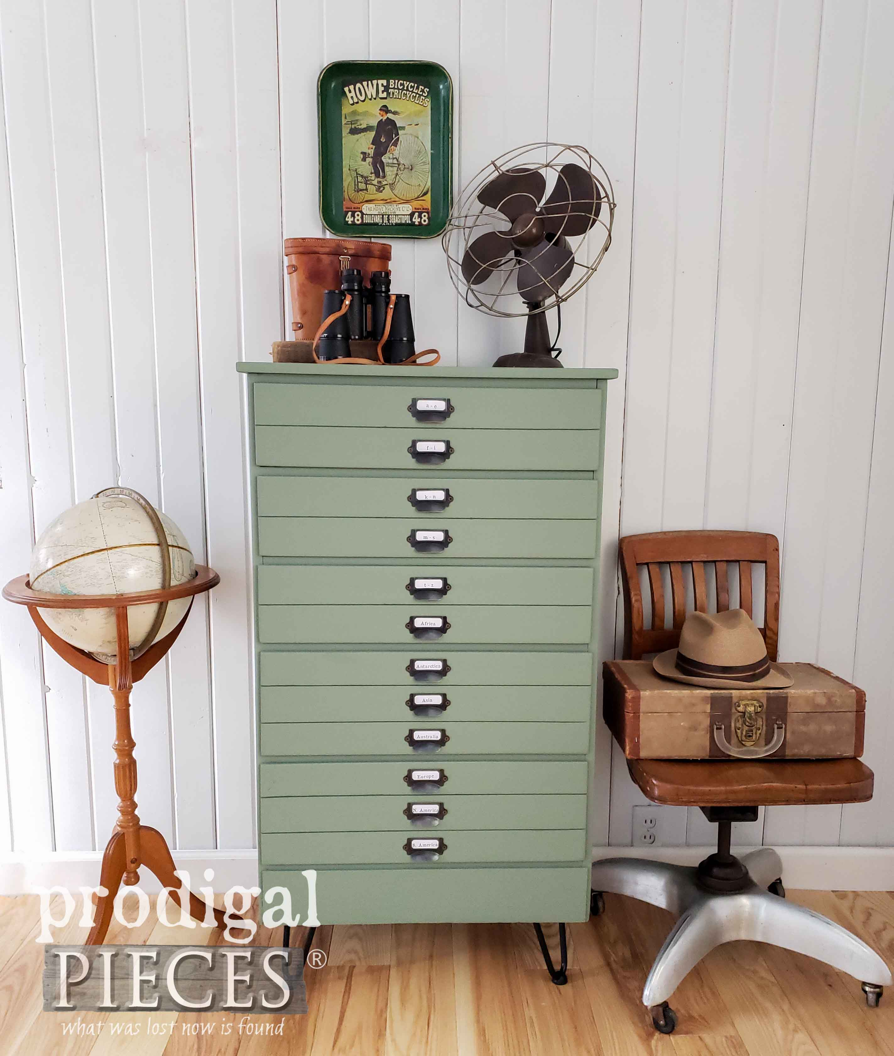 Vintage Style Map Cabinet from an Upcycled Chest of Drawers by Larissa of Prodigal Pieces | Video tutorial at prodigalpieces.com #prodigalpieces #diy #handmade #furniture #shopping #home #farmhouse #homedecor #homedecorideas