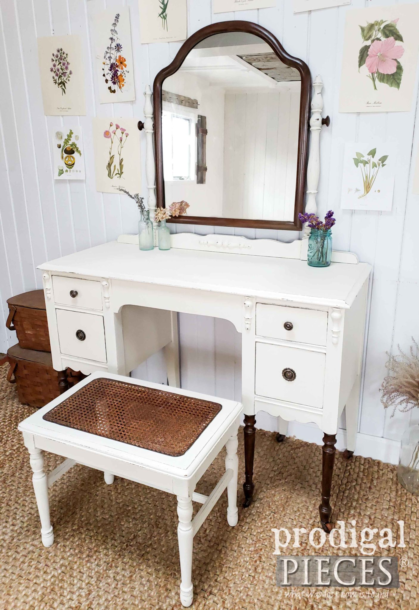 Creamy White Antique Dressing Table Set with Caned Bench Seat by Larissa of Prodigal Pieces | prodigalpieces.com #prodigalpieces #furniture #farmhouse #home #homedecor #homedecorideas #shopping
