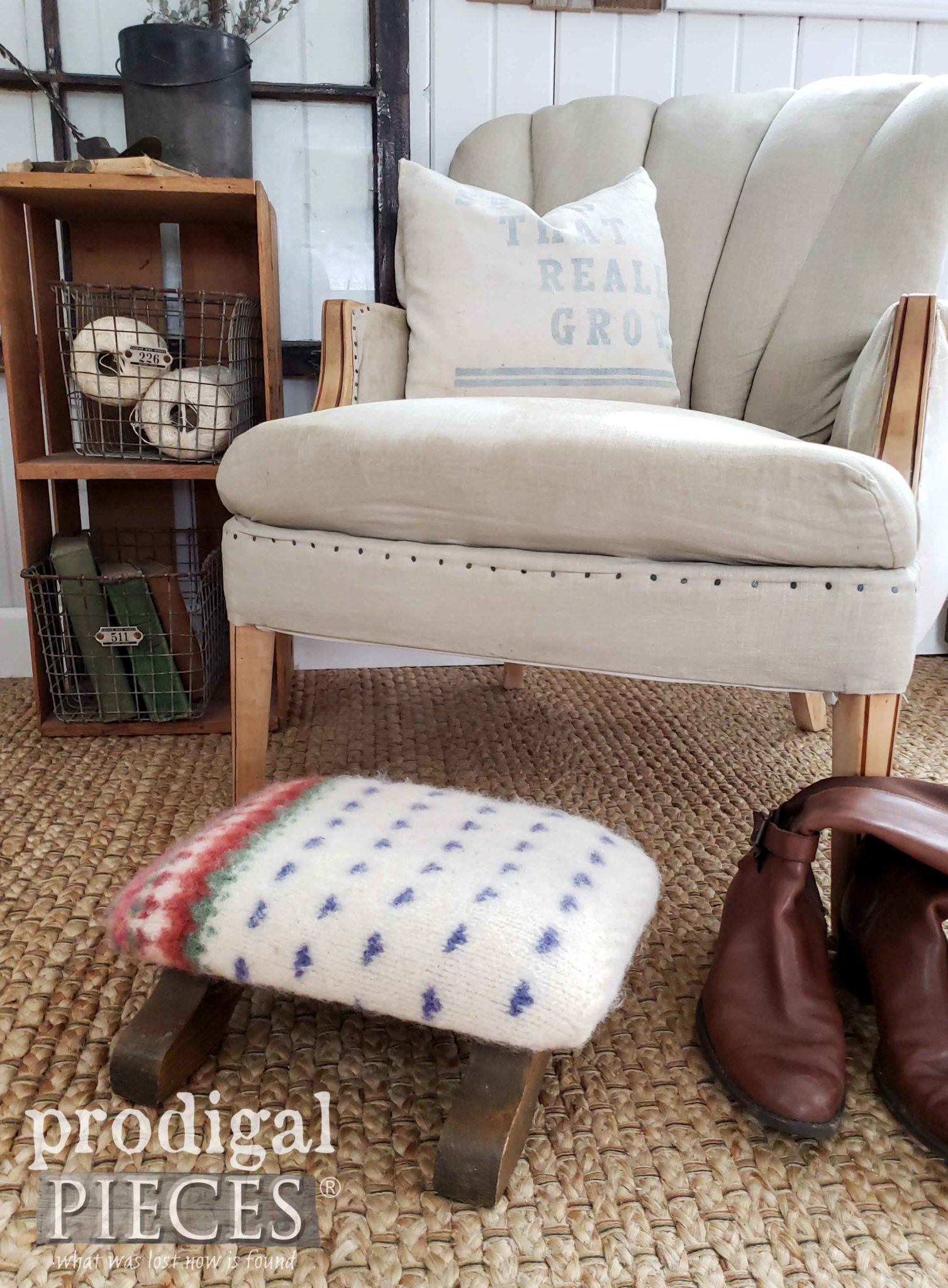 Nordic Farmhouse Style Felted Wool Footstool with Video Tutorial by Larissa of Prodigal Pieces | prodigalpieces.com #prodigalpieces #vintage #handmade #farmhouse #furniture #home #homedecor #homedecorideas #shopping