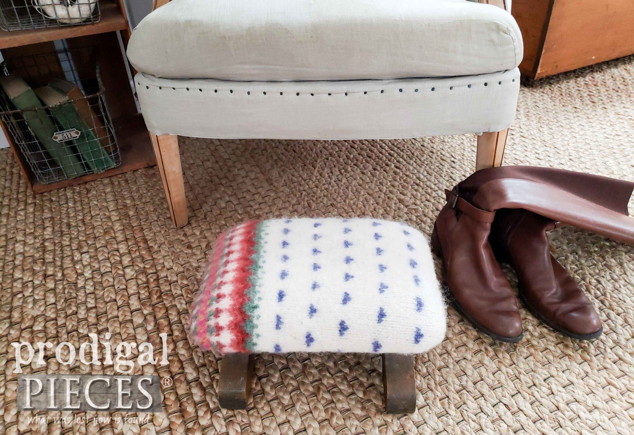 White Felted Wool Footstool Created from Thrift Store Sweater for a Nordic Style | Video Tutorial by Larissa of Prodigal Pieces | prodigalpieces.com #prodigalpieces #nordic #diy #farmhouse #furniture #home #homedecor #homedecorideas #shopping