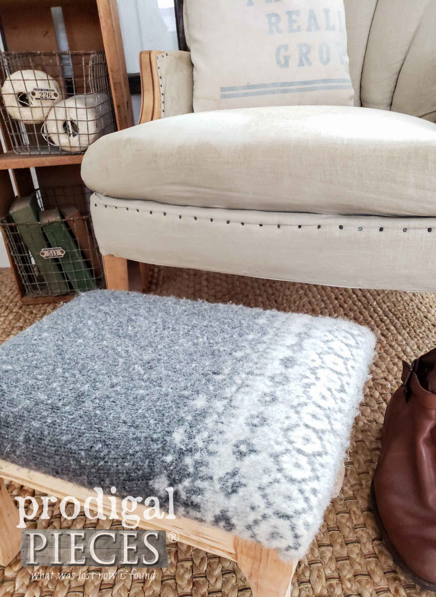 Felted Wool Footstool Tutorial by Larissa of Prodigal Pieces | prodigalpieces.com