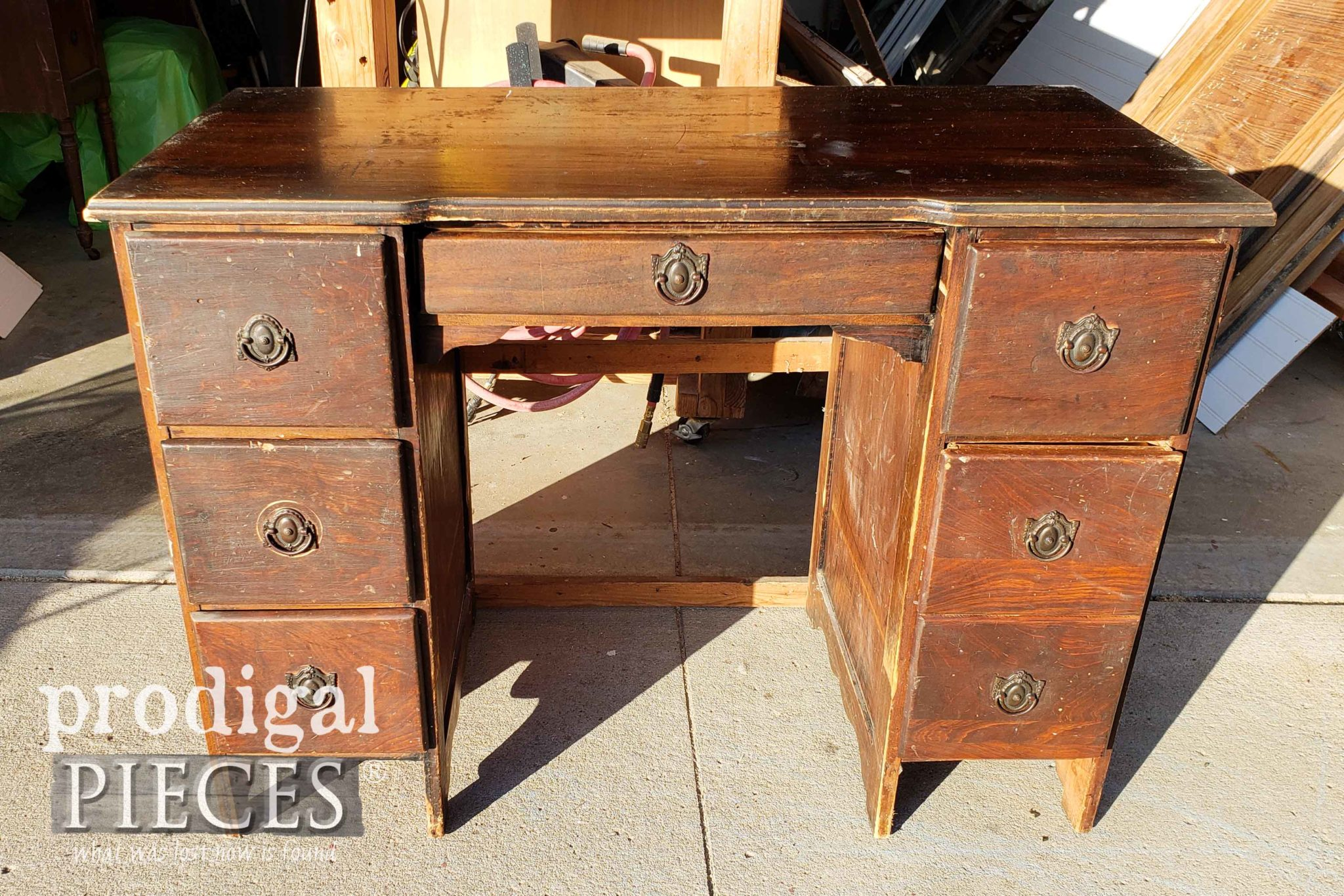 Antique Desk Before Being Made into Nightstands | prodigalpieces.com