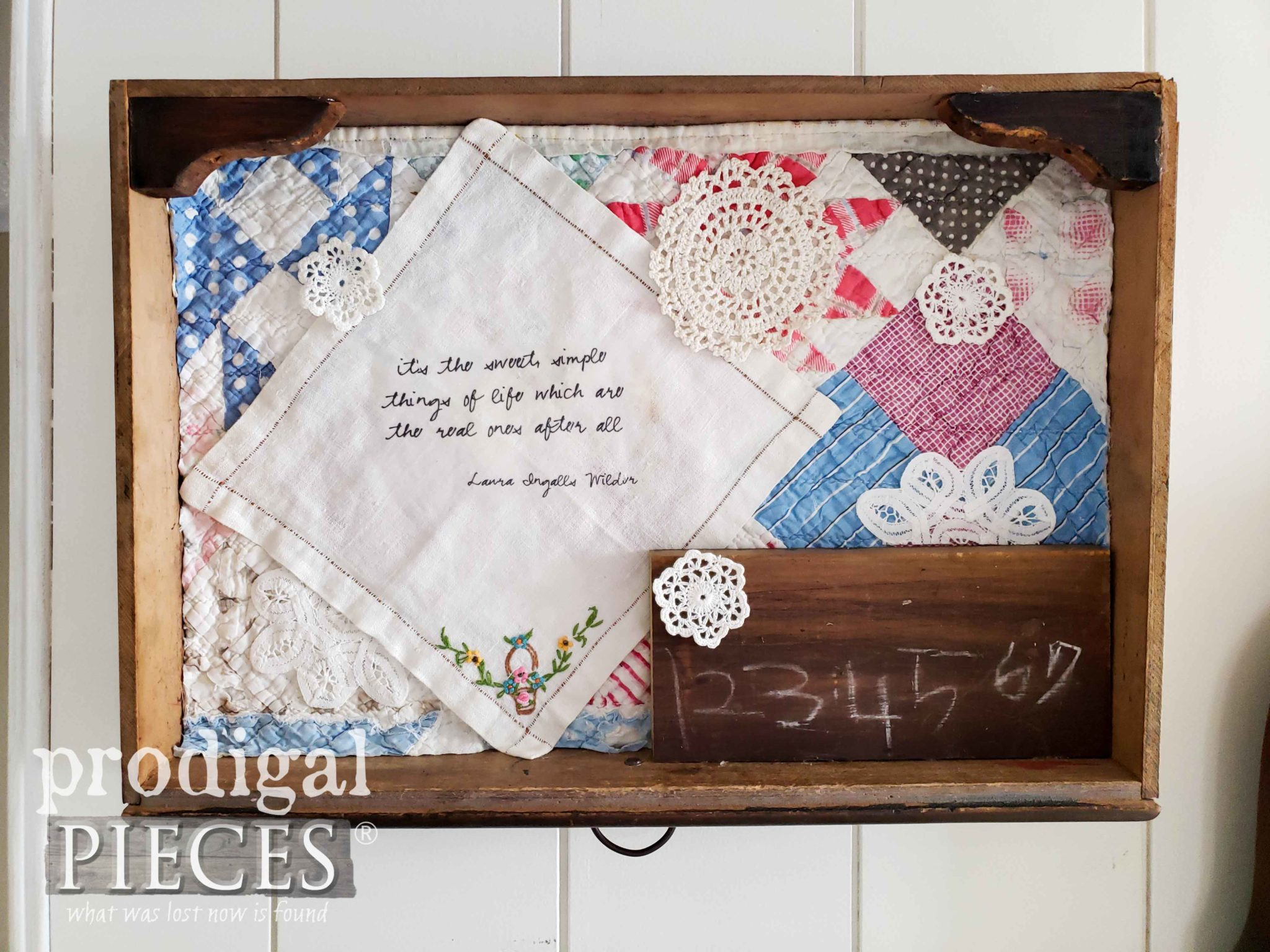 Antique Drawer Repurposed into Vintage Vignette by Larissa of Prodigal Pieces | prodigalpieces.com #prodigalpieces #diy #handmade #farmhouse #home #homedecor #shopping #vintage