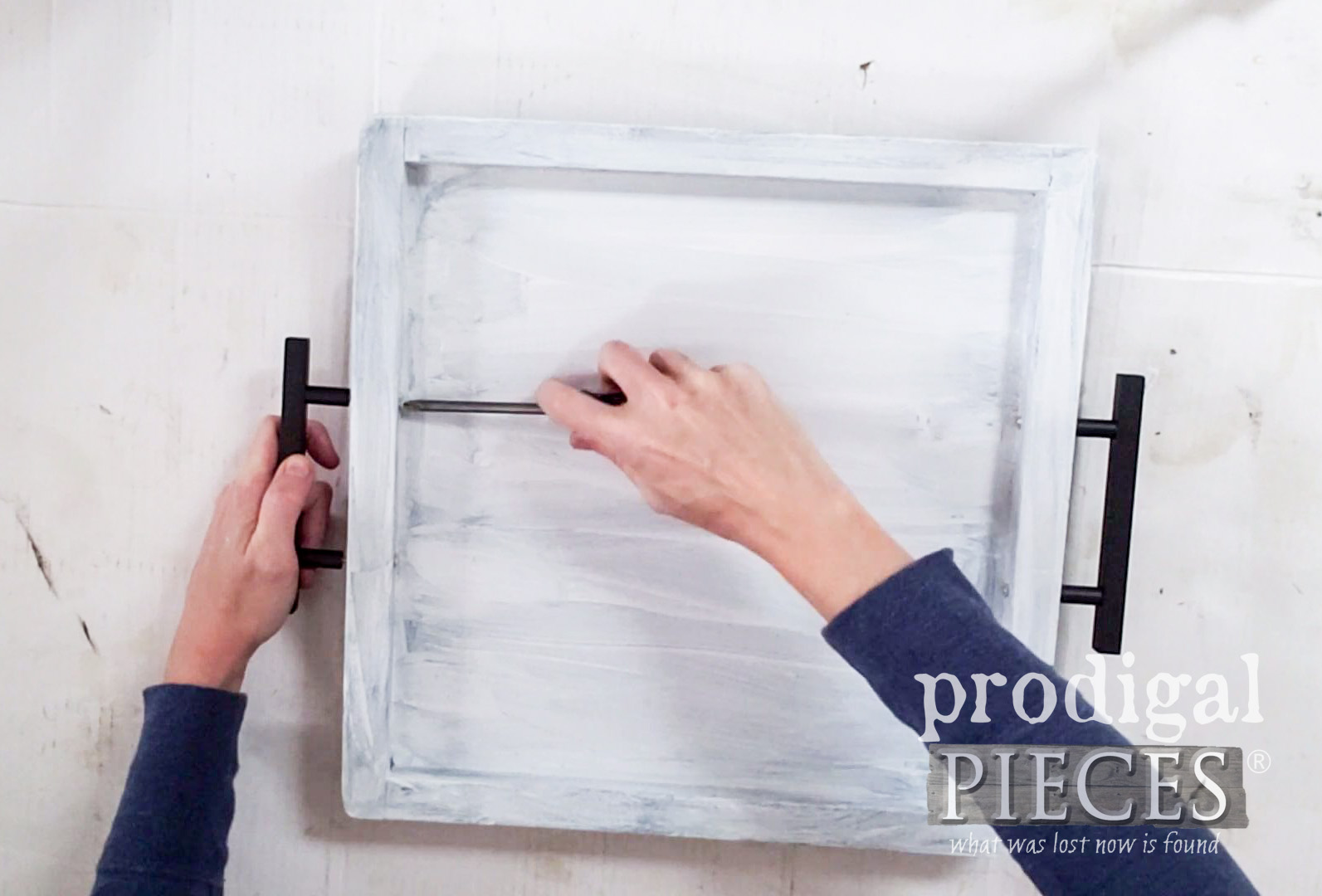 Attaching Hardware to Upcycled Serving Tray | prodigalpieces.com