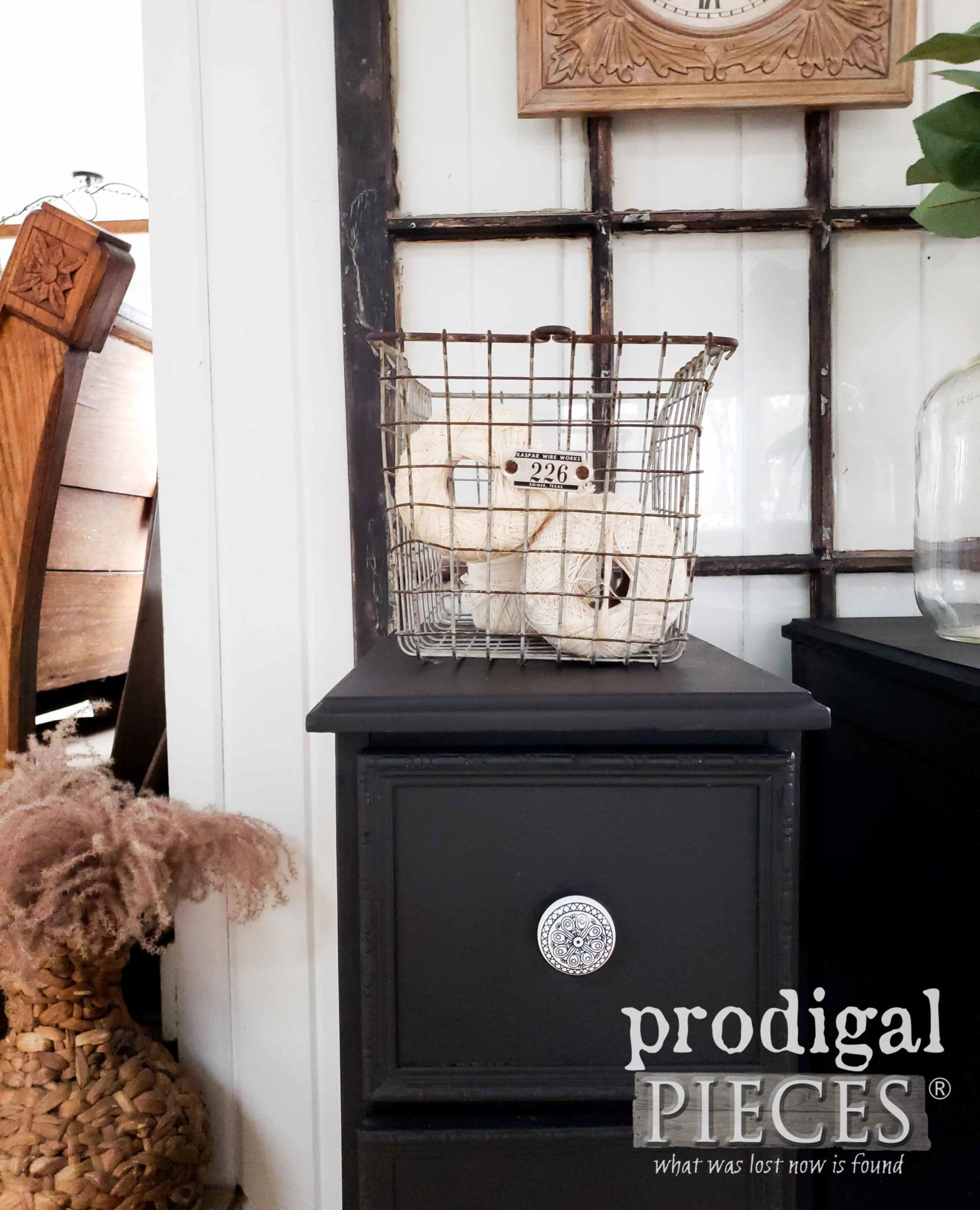 Modern Farmhouse Nightstand in Black | Made from Upcycled Desk by Larissa of Prodigal Pieces | prodigalpieces.com #prodigalpieces #diy #handmade #farmhouse #furniture #home #shopping #homedecor #homedecorideas
