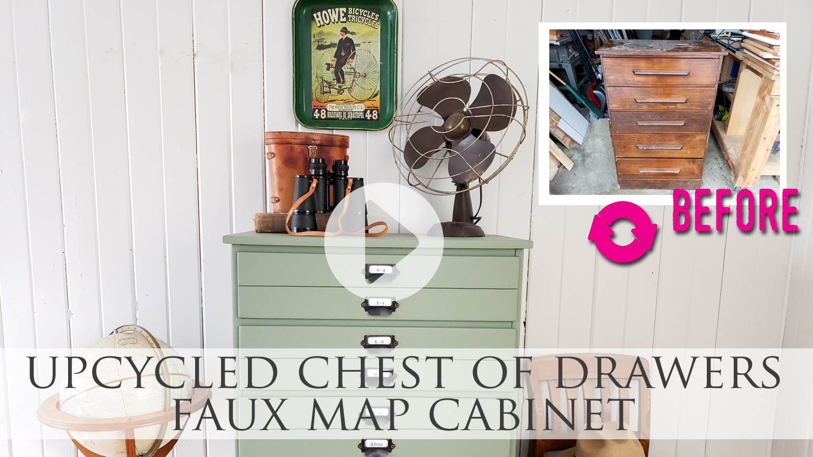 Upcycled Map Chest of Drawers Video Tutorial by Larissa of Prodigal Pieces | prodigalpieces.com #prodigalpieces