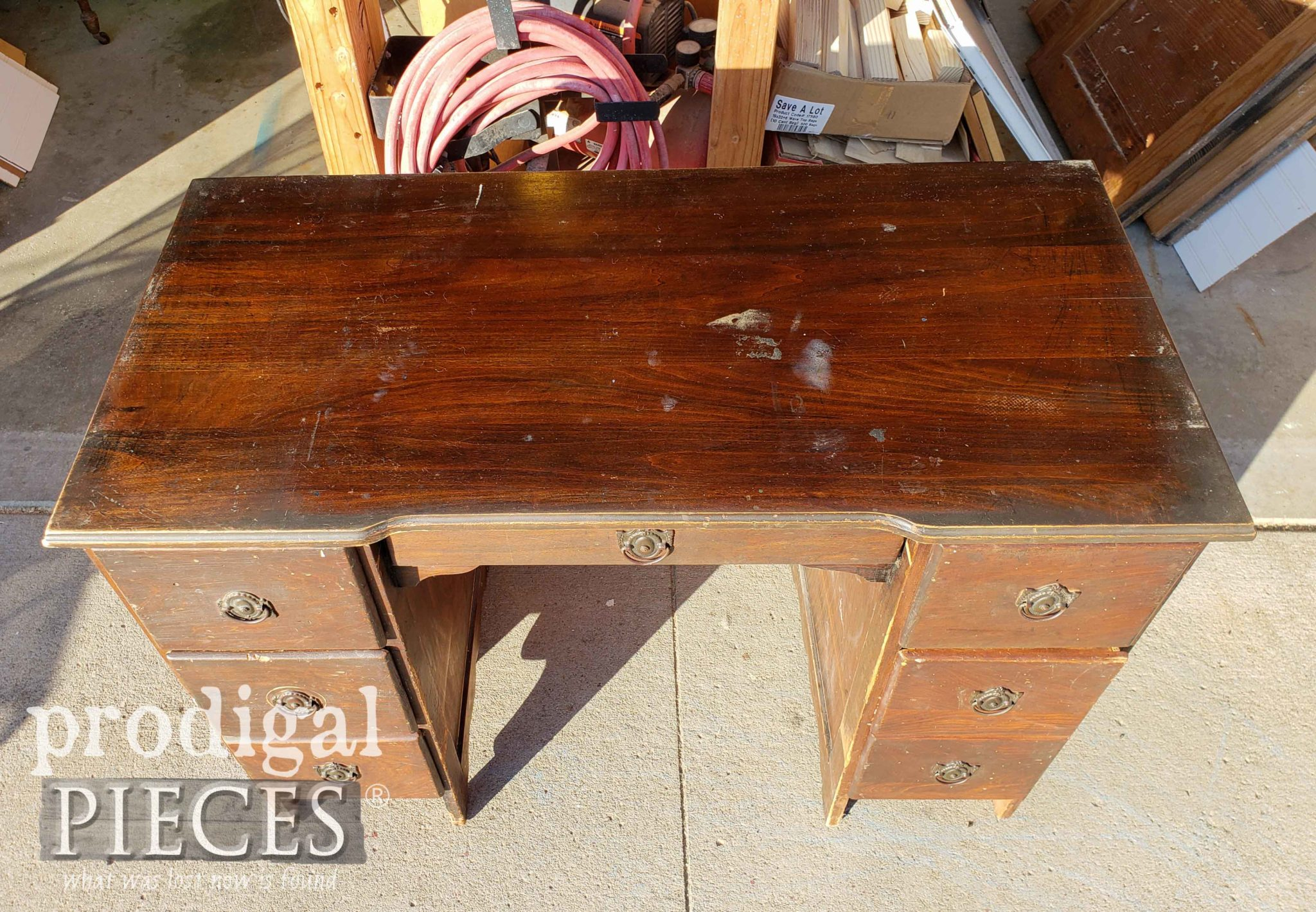 Damaged Antique Desk Top | prodigalpieces.com