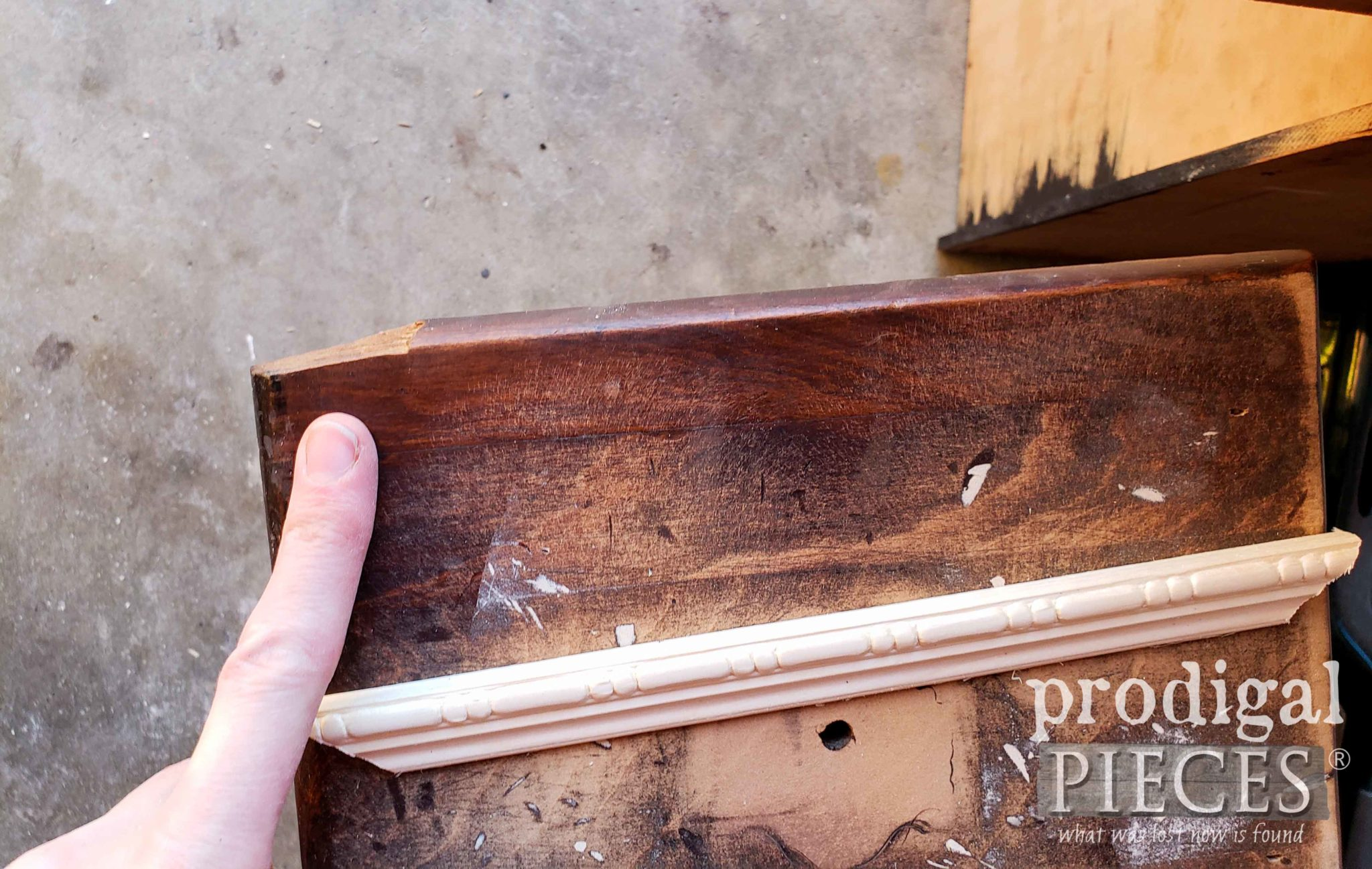 Damaged Drawer Face Repaired with Trim | prodigalpieces.com