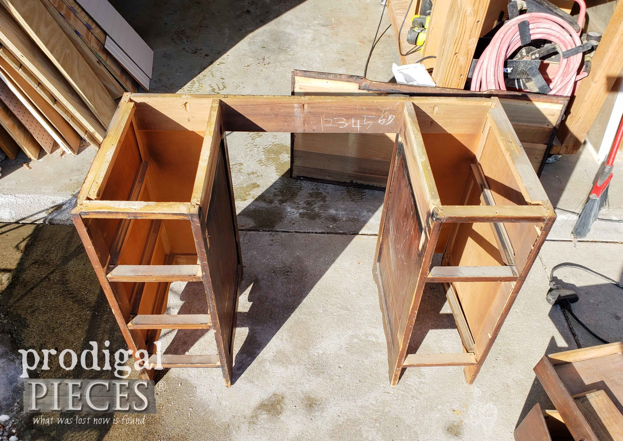 Antique Desk Top Removed to Make Nightstands | prodigalpieces.com