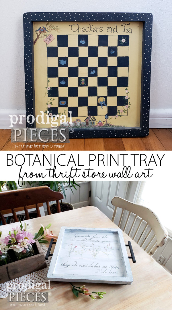 Wow! Who knew that dated wall art could become a beautiful botanical serving tray?! Video tutorial by Larissa of Prodigal Pieces | Head to prodigalpieces.com #prodigalpieces #diy #home #homedecor #handmade #vintage #farmhouse #homedecorideas