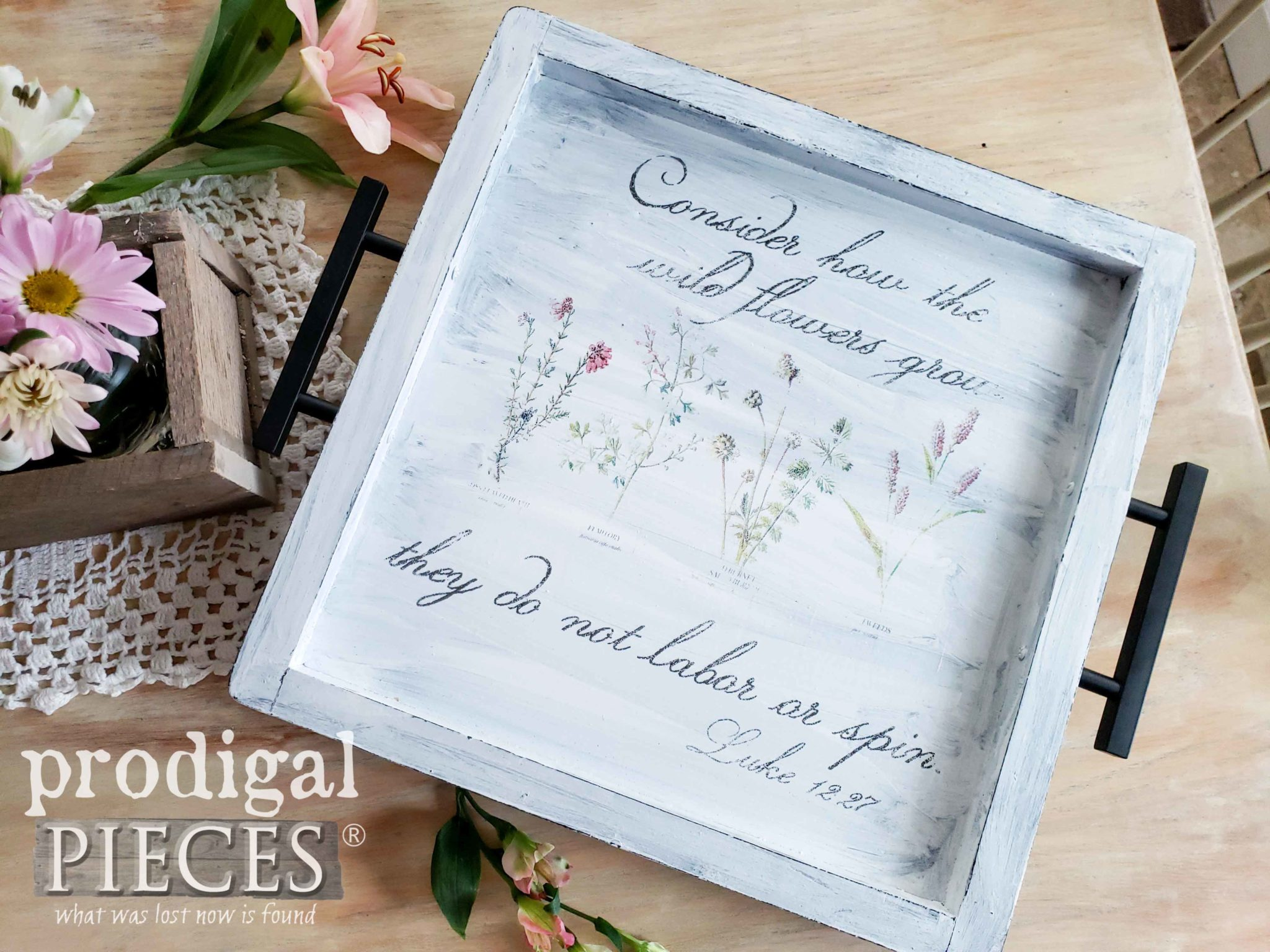 Handmade Botanical Print Serving Tray with Scripture by Larissa of Prodigal Pieces | prodigalpieces.com #prodigalpieces #diy #vintage #home #homedecor #shopping #homedecorideas