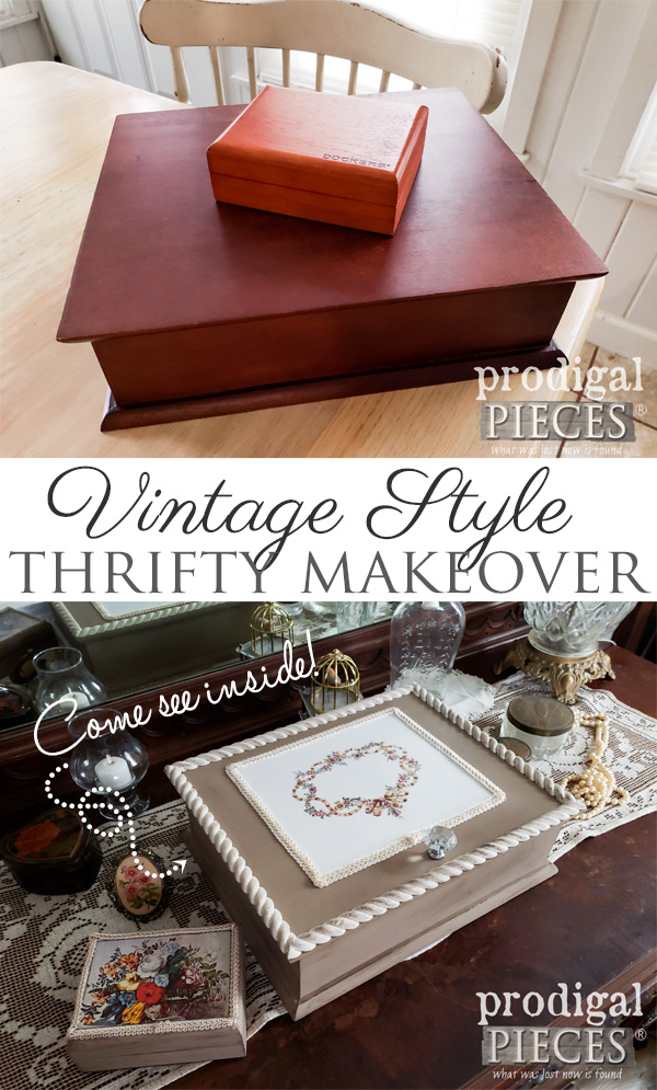 Who knew thrifted could look so good? This set of wooden boxes got a thrifty makeover into vintage style keepsake boxes | Full DIY tutorial by Larissa at Prodigal Pieces | prodigalpieces.com #prodigalpieces #handmade #home #vintage #diy #homedecor #shopping