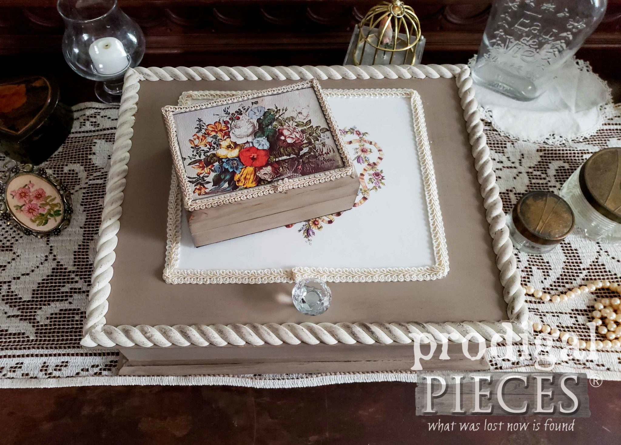 DIY Vintage Style Dresser Box Set: Includes Ring Box and Stationery Box | Tutorial by Larissa of Prodigal Pieces | prodigalpieces.com #prodigalpieces #vintage #diy #home #homedecor #shopping #homedecorideas #handmade