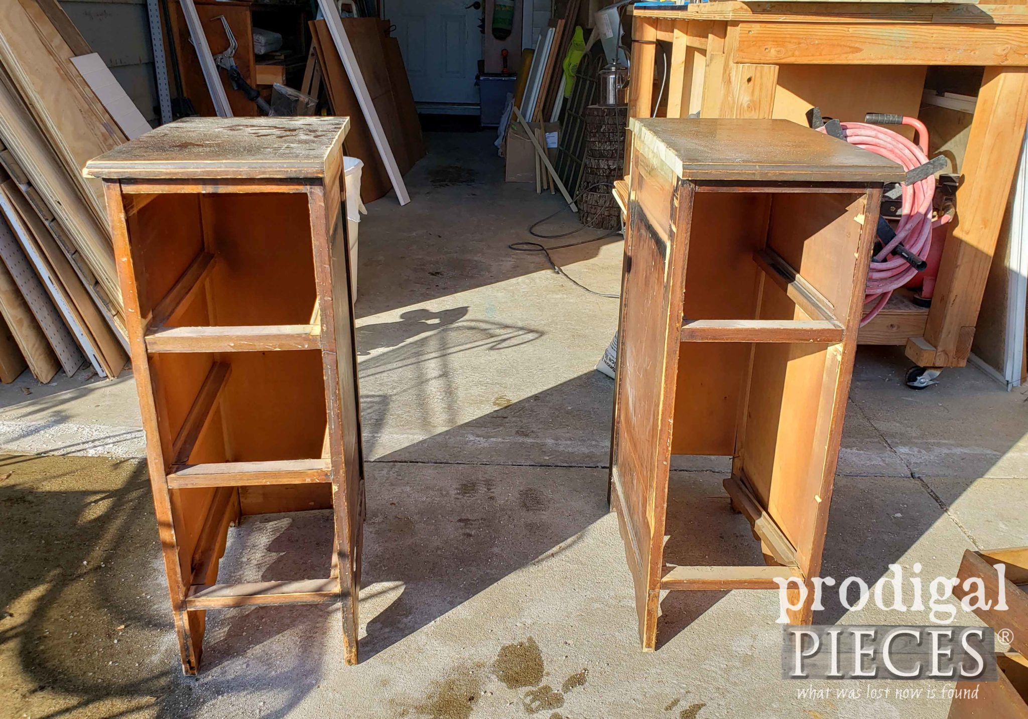 Dry Fit of DIY Nightstands from Antique Desk | prodigalpieces.com