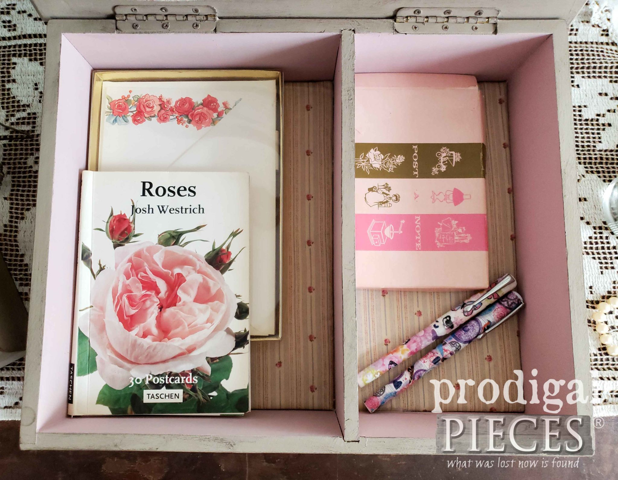 Fabric Lined Romantic Style Stationery Keepsake Box by Larissa of Prodigal Pieces | prodigalpieces.com #prodigalpieces #diy #handmade