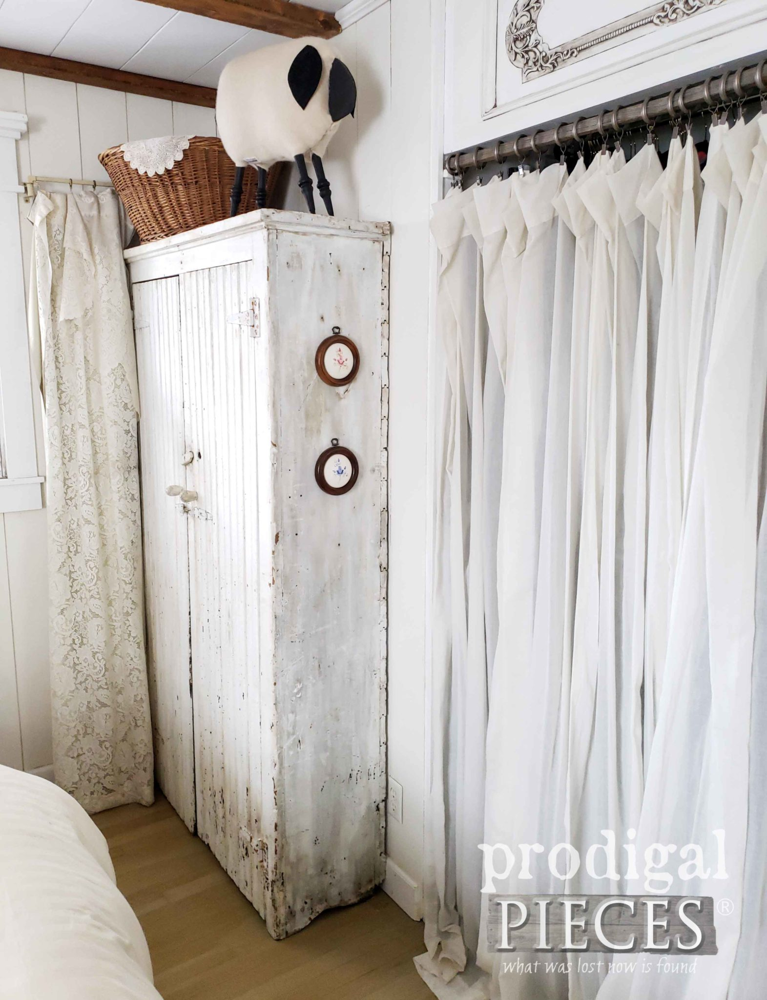 Farmhouse Bedroom with Closet Transom and Repurposed Decor by Larissa of Prodigal Pieces | prodigalpieces.com #prodigalpieces #diy #home #furniture #tutorial #homedecor #farmhouse #homedecorideas