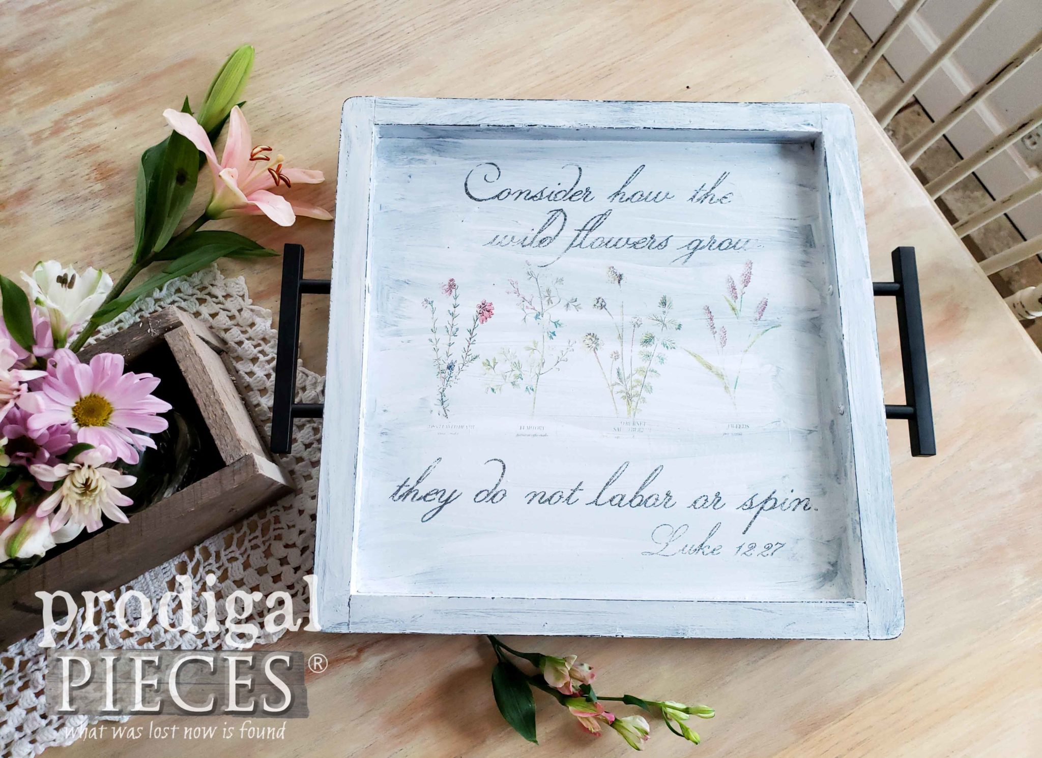 Farmhouse Style Botanical Serving Tray with Tutorial by Larissa of Prodigal Pieces | prodigalpieces.com #prodigalpieces #handmade #home #farmhouse #diy #homedecor #homedecorideas