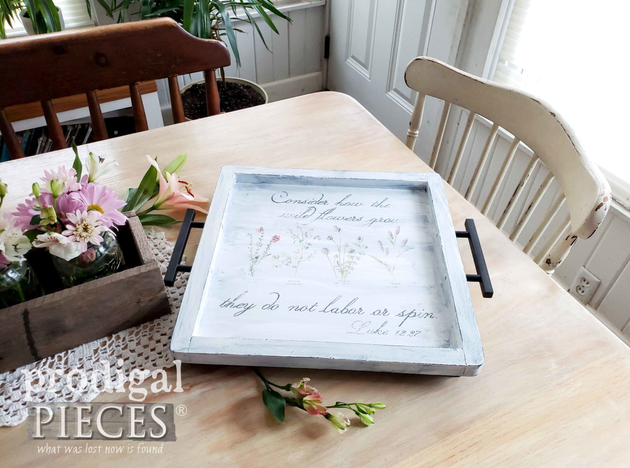 Upcycled Farmhouse Style Serving Tray with Botanical Print | Video tutorial on how to transfer an image by Larissa of Prodigal Pieces at prodigalpieces.com #prodigalpieces #diy #home #vintage #homedecor #farmhouse #videos