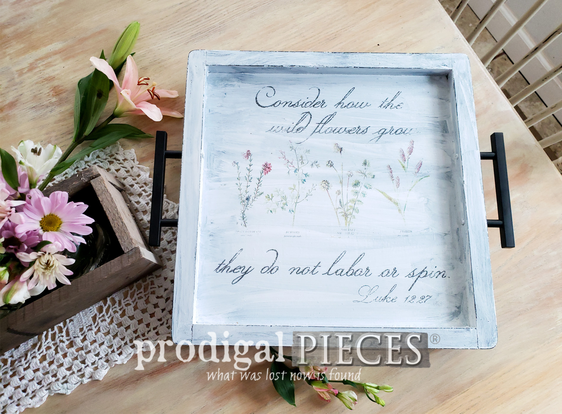 Featured Botanical Print Serving Tray Created from Thrifted Wall Art | Video Tutorial by Larissa of Prodigal Pieces | prodigalpieces.com #prodigalpieces #diy #home #farmhouse #vintage #homedecor #homedecorideas