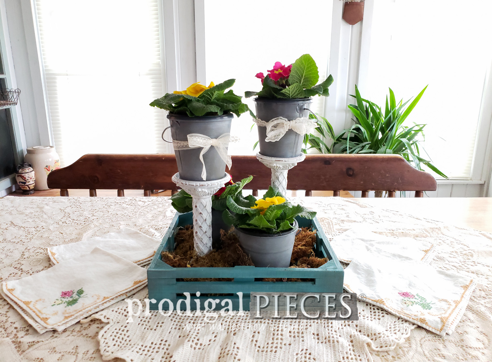 Featured DIY Spring Centerpiece using Thrifted Finds and this DIY video tutorial by Larissa of Prodigal Pieces | Head to prodigalpieces.com #prodigalpieces #diy #videos #farmhouse #home #homedecor #shopping #homedecorideas