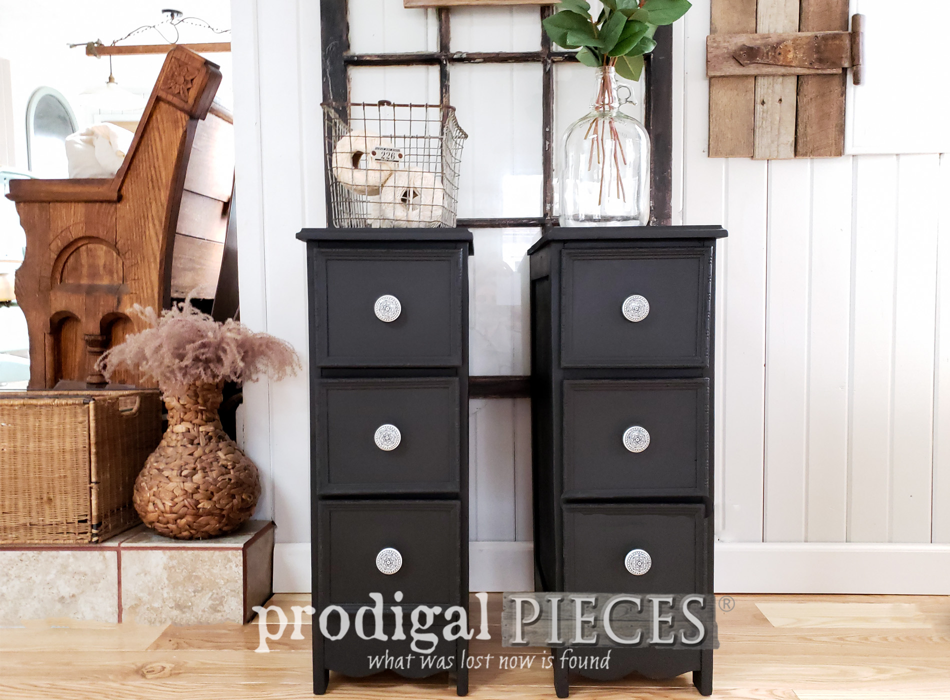 Featured Upcycled Desk into Nightstands with Step-by-Step Video Tutorial by Larissa of Prodigal Pieces | prodigalpieces.com #prodigalpieces #diy #handmade #vintage #furniture #home #shopping #homedecor #homedecorideas