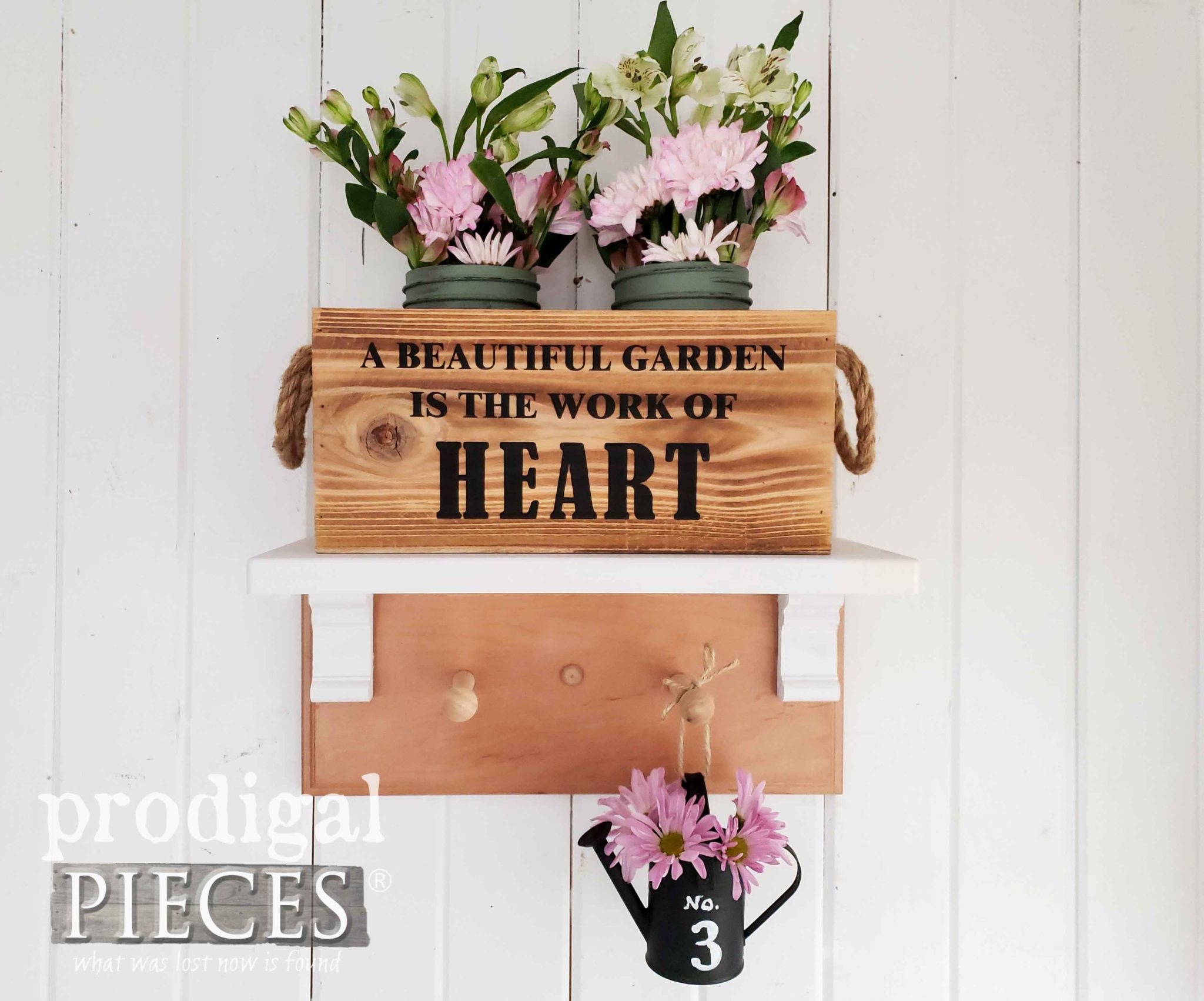 Upcycled Drawer Fronts Garden Shelf Coat Rack Created by Larissa of Prodigal Pieces | prodigalpieces.com #prodigalpieces #home #diy #farmhouse #homedecor #garden #homedecorideas #shopping