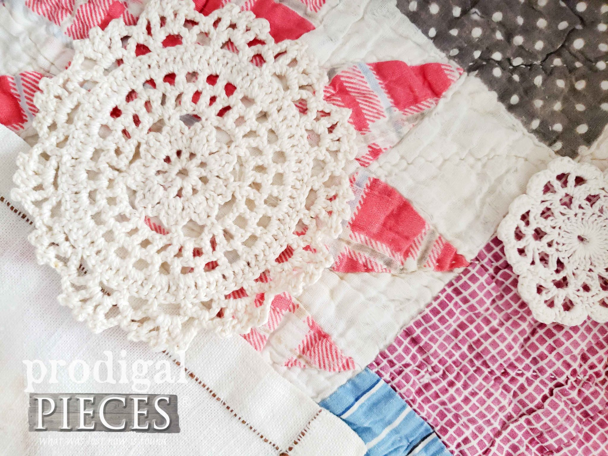 Hand-Stitched Tattered Quilt and Doilies for Mixed Media Art by Larissa of Prodigal Pieces | prodigalpieces.com